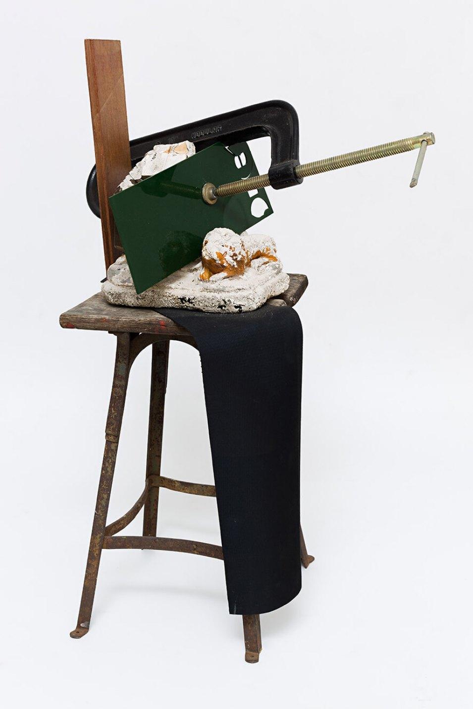 Deyson Gilbert,&nbsp;<em>untitled,</em> 2014, wood, plaster, plastic, metal and c-clamp, 37&nbsp;×&nbsp;61&nbsp;×&nbsp;32 cm - Mendes Wood DM
