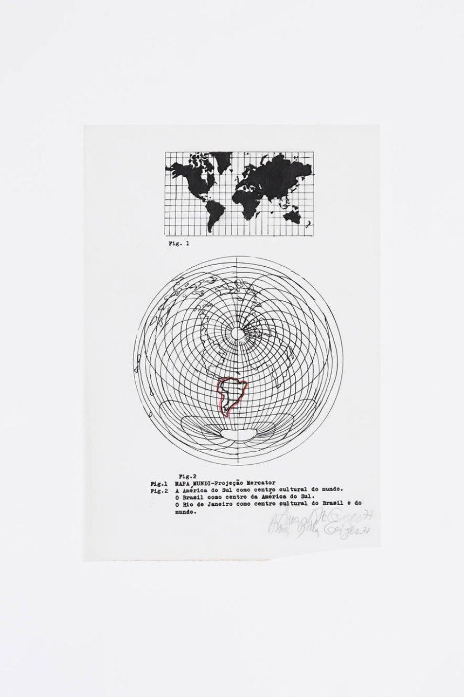 Anna Bella Geiger,<em>O Brasil como centro da América do Sul</em>, 1976,nankin drawing, typewriter and serigraphy,31 × 21 cm - Mendes Wood DM
