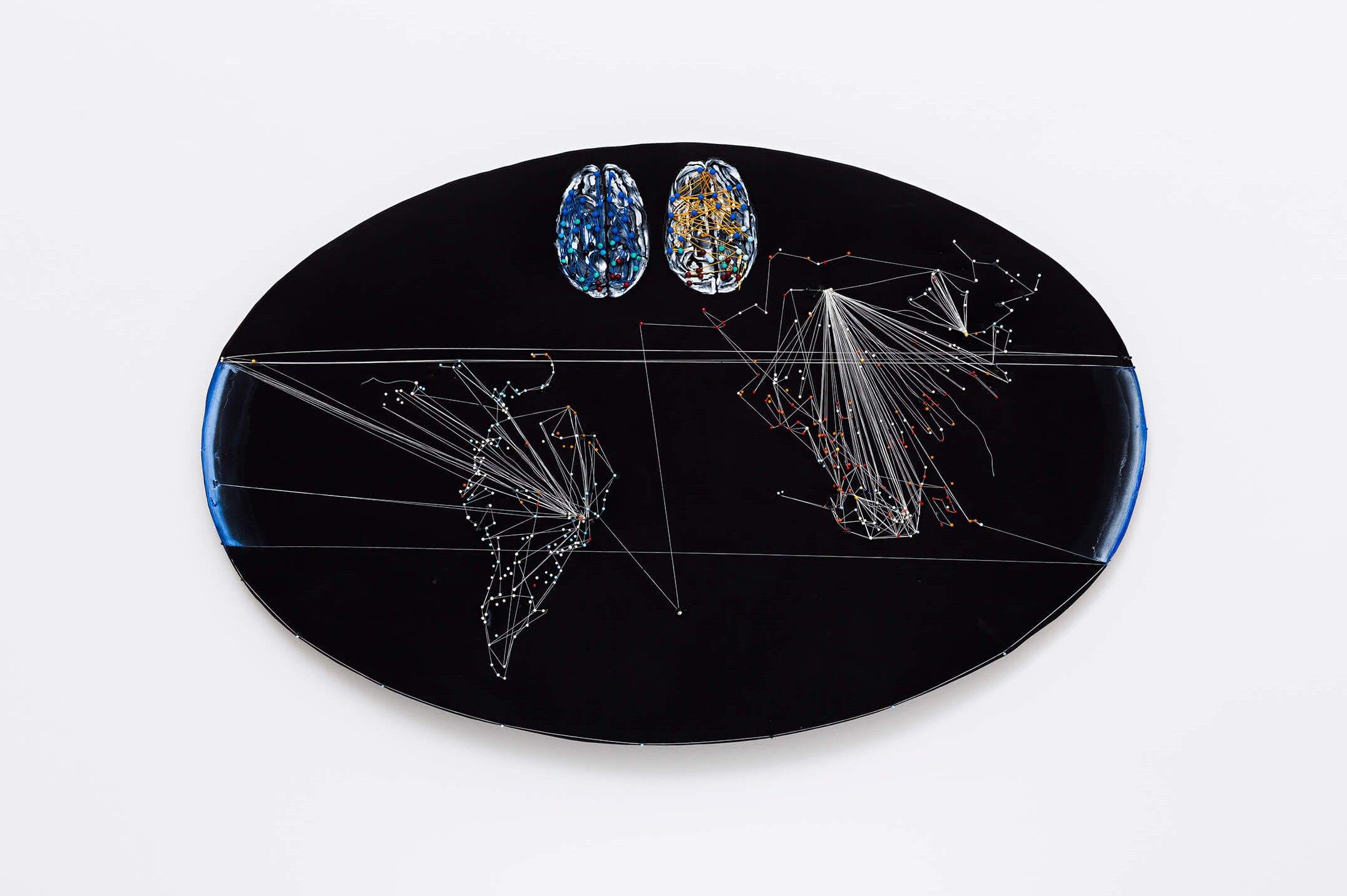 Anna Bella Geiger,<em>EW18 com Pólos, from Macios series</em>, 2014,acrylic on canvas, threads and pins,98 × 59 cm - Mendes Wood DM