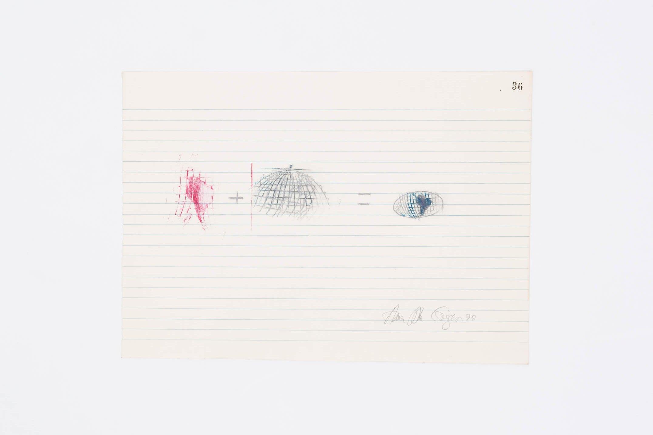 Anna Bella Geiger,<em>Equações, from Rerum Artibus series</em>, 1978,drawing on lined paper,24 × 33 cm - Mendes Wood DM