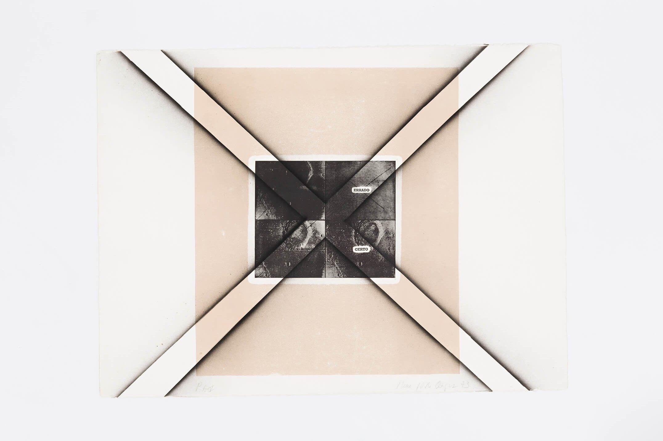 Anna Bella Geiger,<em>Certo-errado, from Polaridades series,</em> 1973,photoengraving on metal and airbrush,55 × 76 cm - Mendes Wood DM