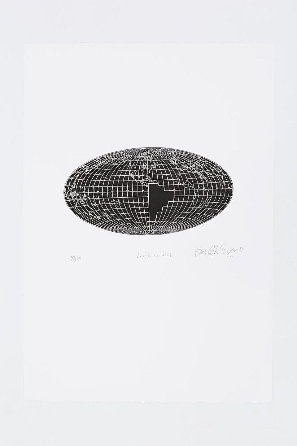 Anna Bella Geiger,<em>Local de ação n.01</em>, 1976,engraving on metal,94,5 × 70 cm - Mendes Wood DM