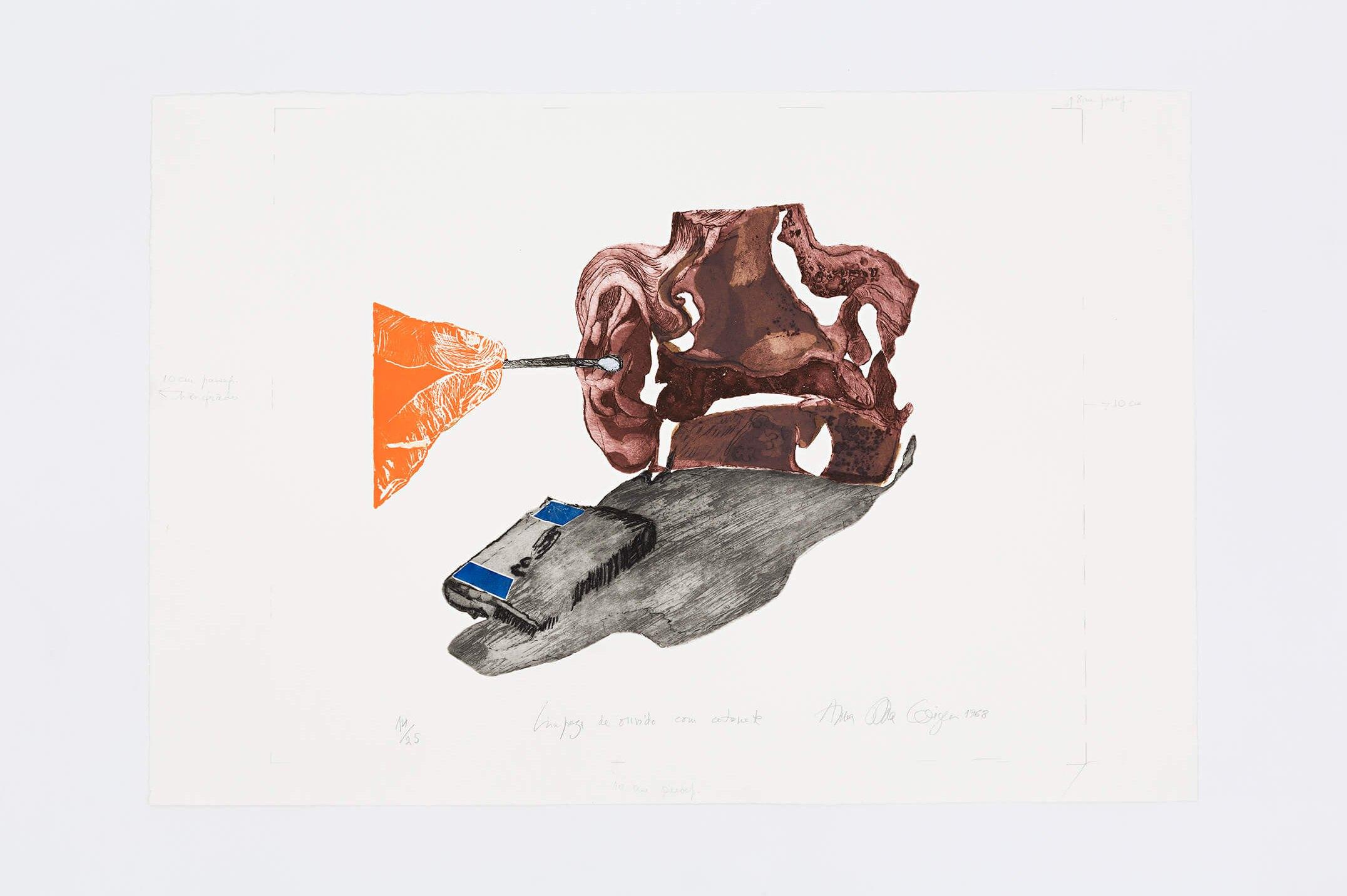 Anna Bella Geiger,<em>Limpeza do ouvido com cotonete, from the series Viscerais</em>, 1968,aquatint, aquafortis and relief,56 × 71,5 cm - Mendes Wood DM