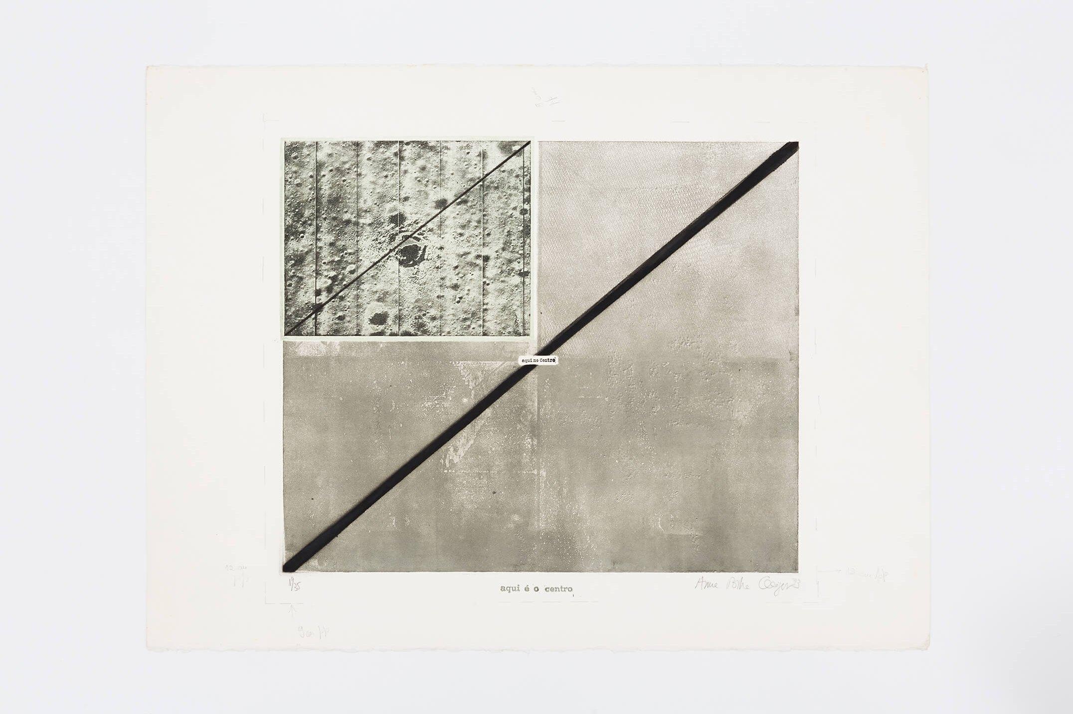 Anna Bella Geiger,<em>Aqui é o centro n.1</em>, 1973,photoengraving on metal, serigraphy and cliché,50 × 50 cm - Mendes Wood DM