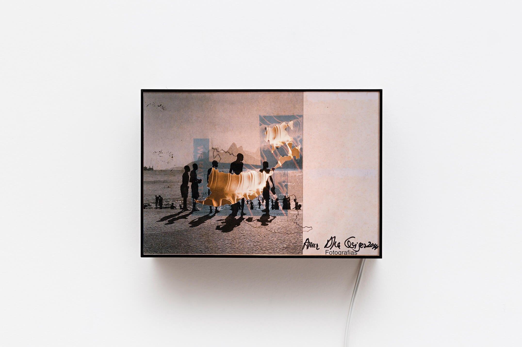 Anna Bella Geiger,<em>Praia de Ipanema com coluna vertebral, from Transferrs series</em>, collage and backlight,18,5 × 26,5 ×10 cm - Mendes Wood DM
