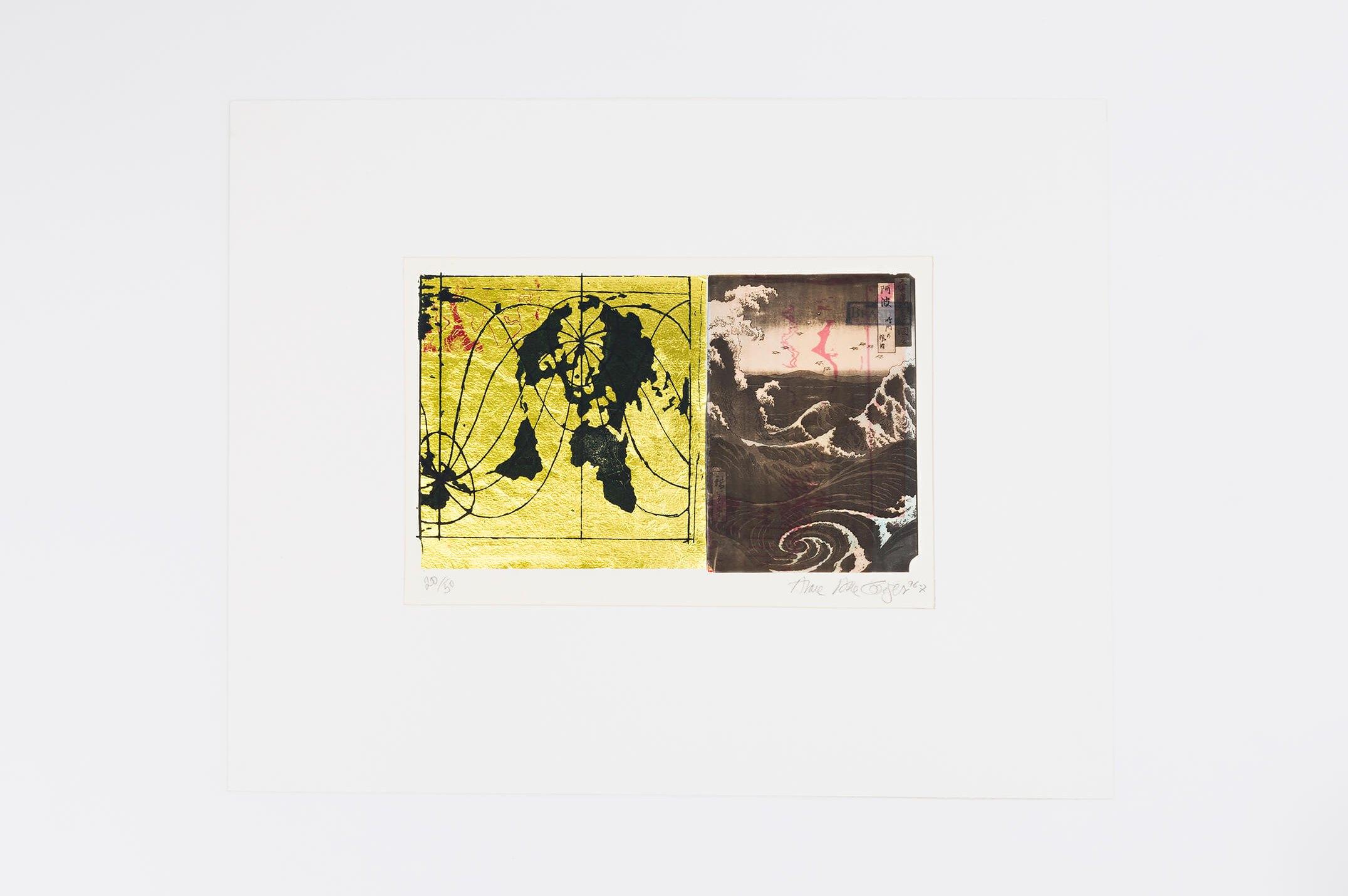 Anna Bella Geiger,<em>... com Hiroshigue para os mares e águas, from Local da ação series</em>, 1996, photoengraving on metal and collage,25 ×36 cm - Mendes Wood DM