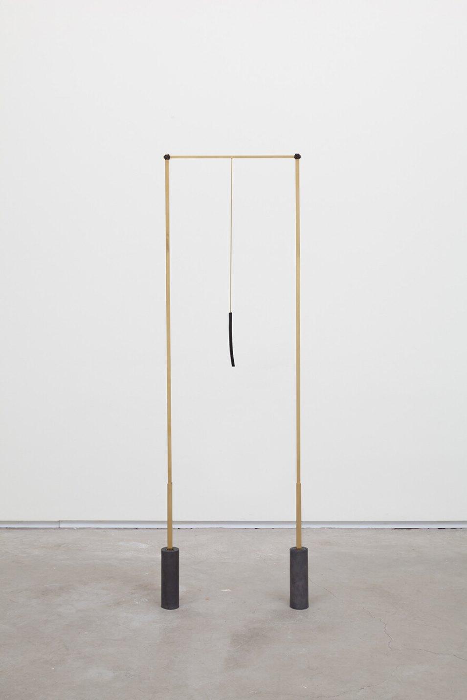 Paloma Bosquê, <em>Posts</em>, 2016, lead sheet, brass rods and mineral coal, 115,5 × 35 × 4,5 cm - Mendes Wood DM