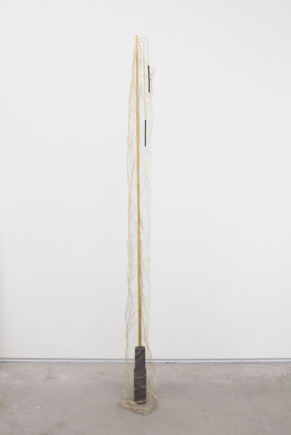 Paloma Bosquê, <em>Fountain #2</em>, 2016, lead sheet, brass rods, charcoal and lurex loom, 198 × 15 × 15 cm - Mendes Wood DM