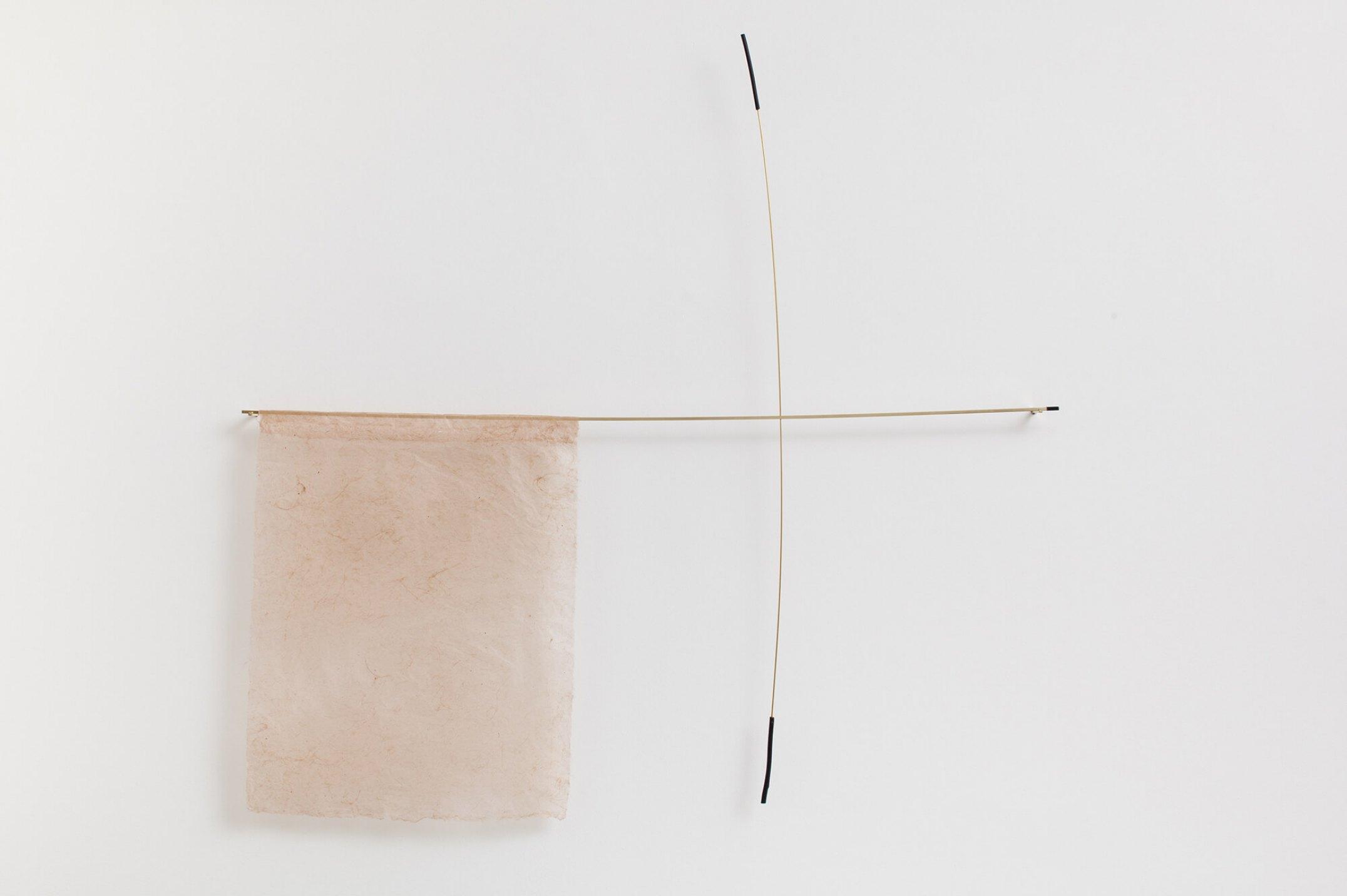 Paloma Bosquê,<em>Possible Composition</em>,2016, banana leaf paper, brass rods and charcoal, 110 × 118 × 4,5 cm - Mendes Wood DM