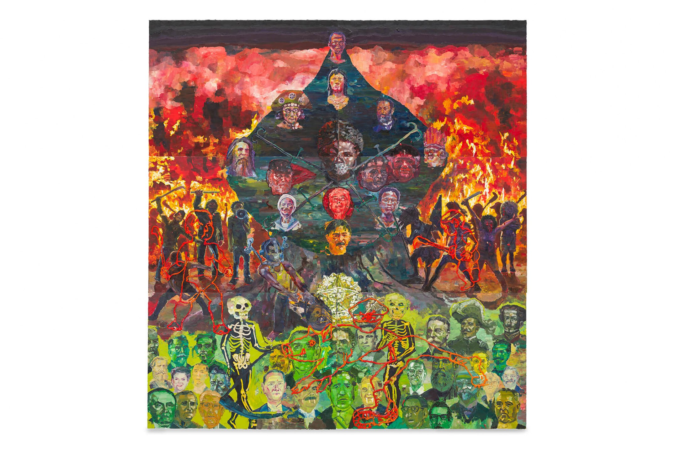 Thiago Martins de Melo,&nbsp;<em>Tree of Blood and Fire Obliterating Pigs</em>,&nbsp;2013, oil on canvas, 390 × 360 cm - Mendes Wood DM