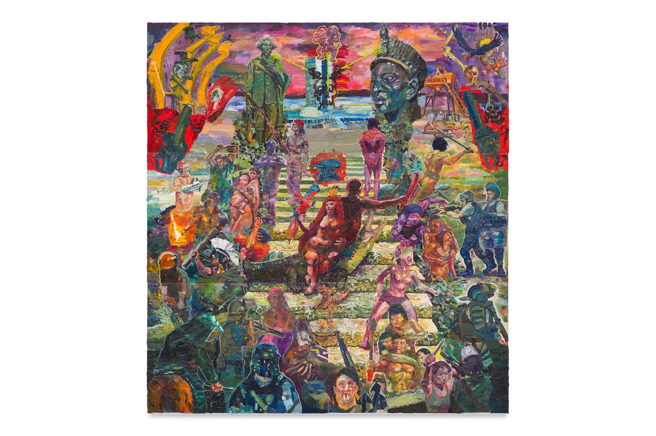 Thiago Martins de Melo,&nbsp;<em>The Mixed-Race Rebis Crowns the Staircase of the Indigents Martyrs</em>, 2013, oil on canvas, 390&nbsp;×&nbsp;360 cm - Mendes Wood DM