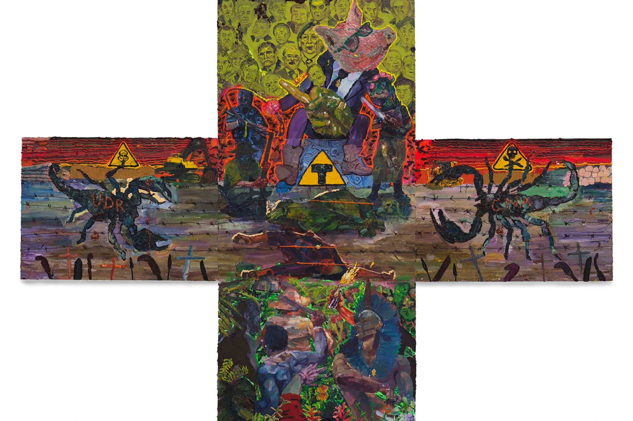 Thiago Martins de Melo,&nbsp;<em>The Cross and the Throne of Neo-Colonelcy</em>, 2013, oil on canvas, 390 × 540 cm - Mendes Wood DM