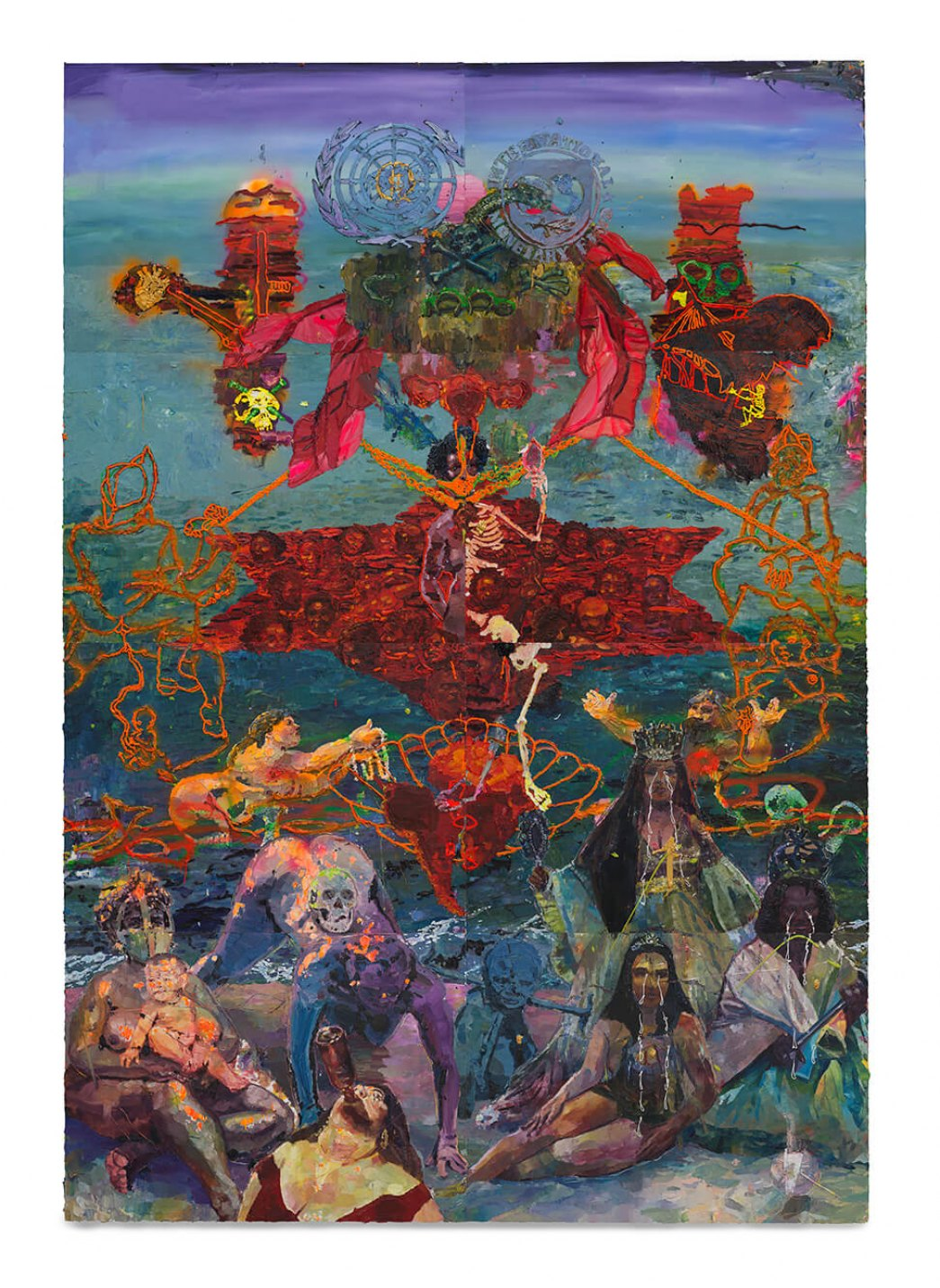 Thiago Martins de Melo, <em>The Azimutal Division of the World and the Birth of the Slave Venus amidst the Wailing of the Ladies of the Atlantic</em>, 2013, oil on canvas, 520 × 360 cm - Mendes Wood DM
