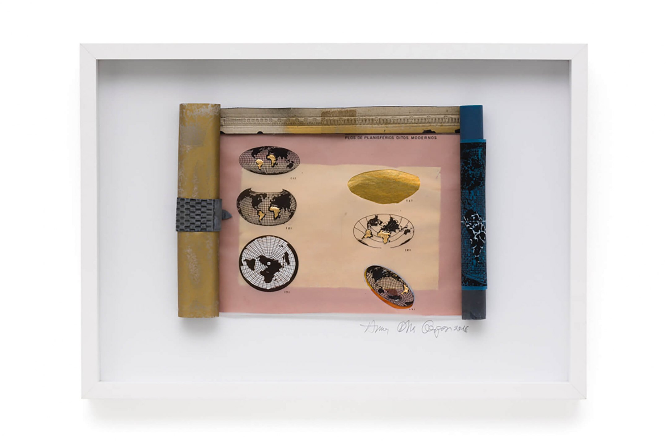 Anna Bella Geiger, <em>Rolo Ocidental com 5 mapinhas pintados à mão</em>,&nbsp;2016,parchment style sheet, chinese rice paper with print in gold leaf, collage, nankin drawing, oil paint and engraving in lead sheet, 50 ×&nbsp;70 × 5 cm - Mendes Wood DM
