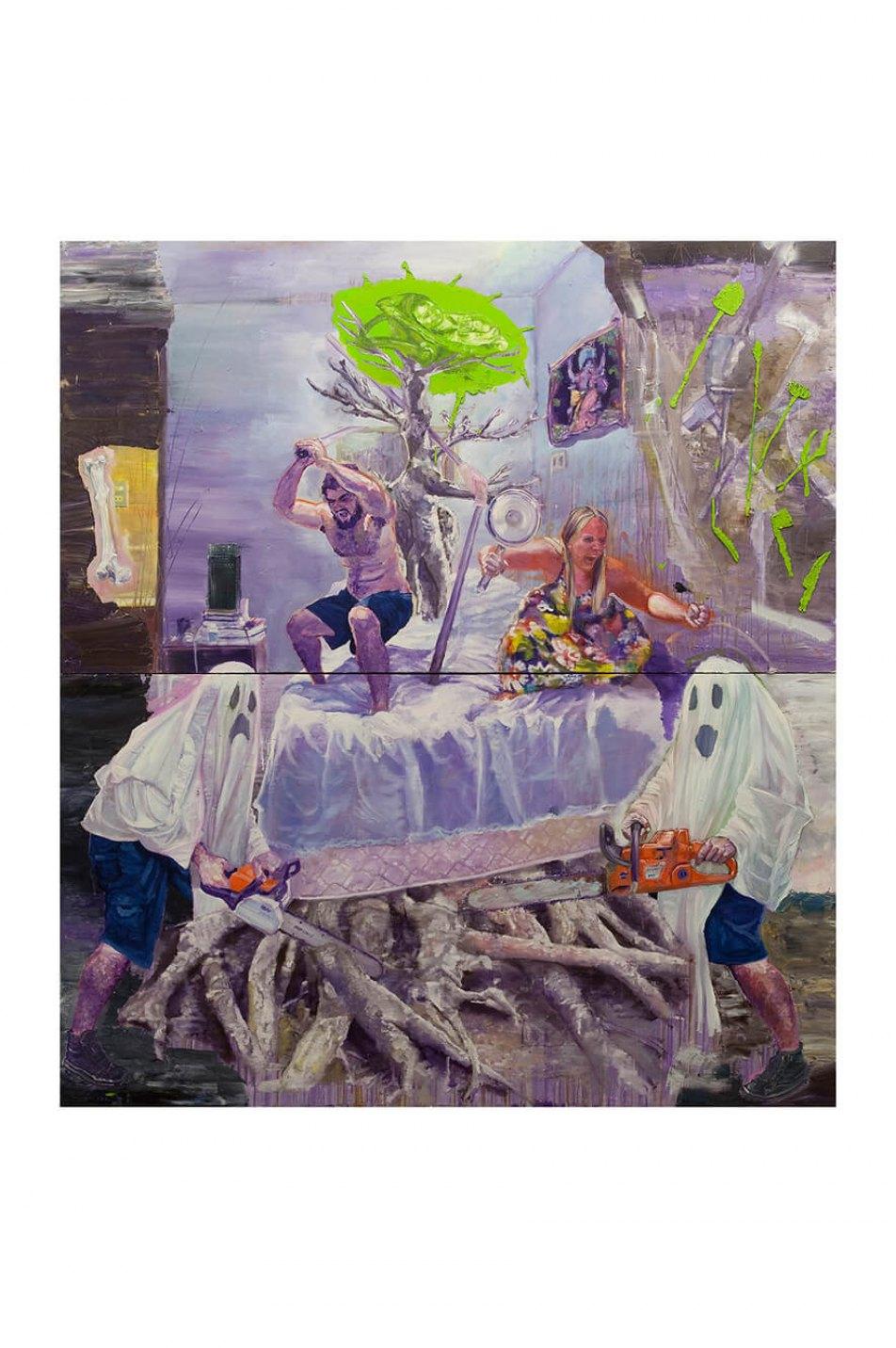 Thiago Martins de Melo, <em>Herança de Iroco, ou a Cama de Ulisses</em>,2010,oil and wax on canvas,200 ×180 cm - Mendes Wood DM
