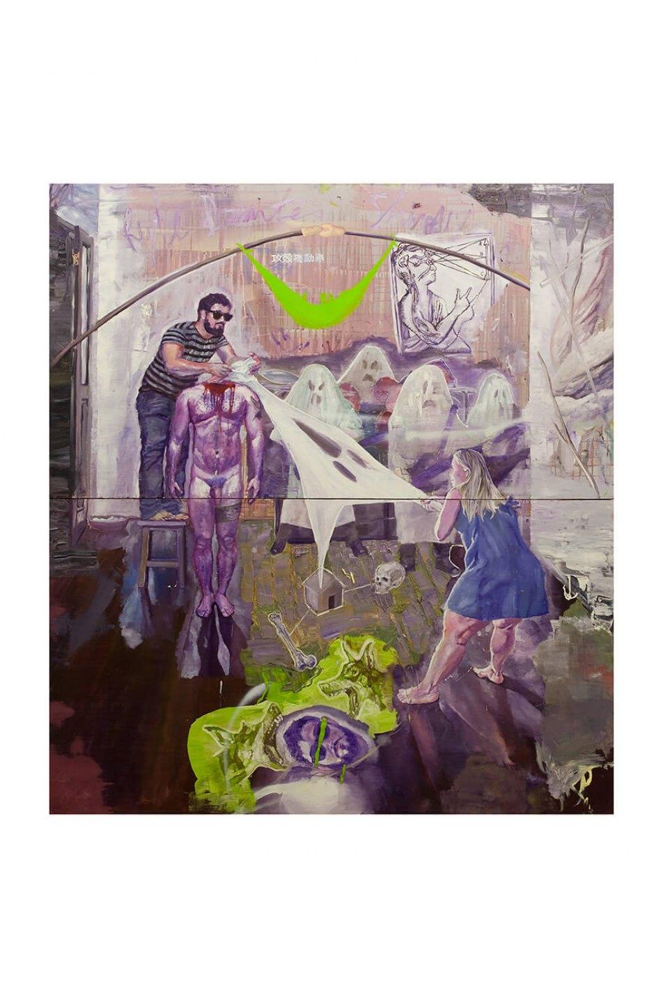 Thiago Martins de Melo,&nbsp;<em>O Fantasma na Máquina, após Ryle, Descartes e Shirow</em>,&nbsp;2010, oil on canvas, 200&nbsp;×&nbsp;180 cm - Mendes Wood DM