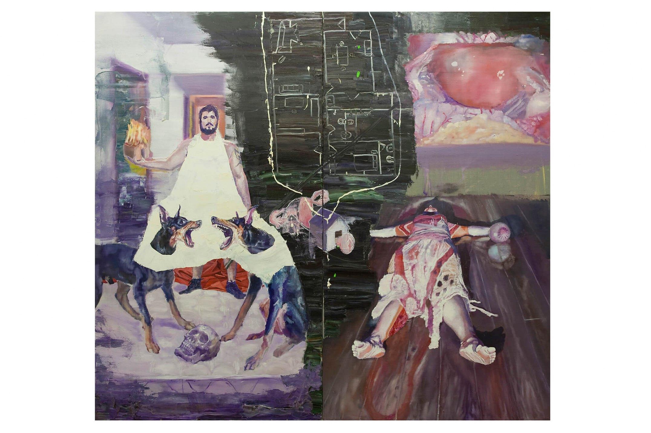 Thiago Martins de Melo,&nbsp;<em>Casa Útero</em>, 2011, oil on canvas, 180 × 200 cm&nbsp; - Mendes Wood DM