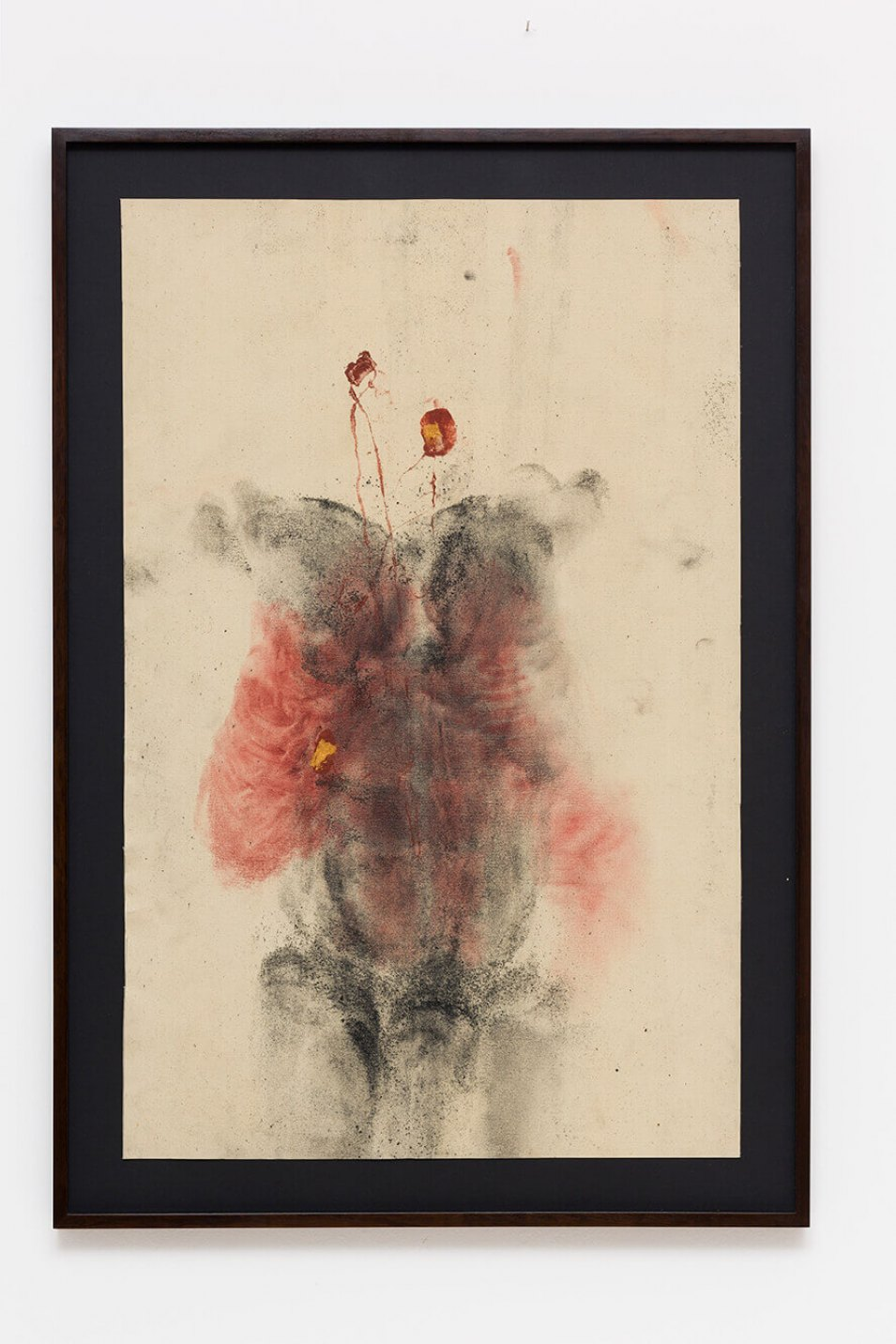 Antônio Obá, <em>Fecha-Corpo,</em> 2016, monotype on canvas, golden ink, pigment and charcoal powder, 106 × 68 cm - Mendes Wood DM