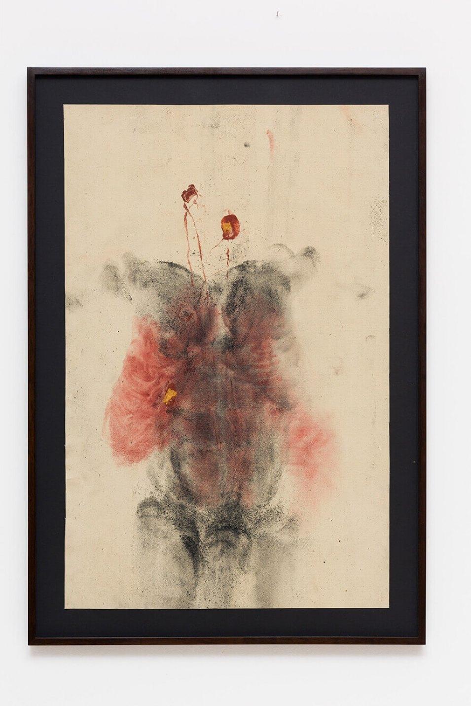 Antônio Obá,<em>Fecha-Corpo,</em> 2016, monotype on canvas, golden ink, pigment and charcoal powder, 106 × 68 cm - Mendes Wood DM