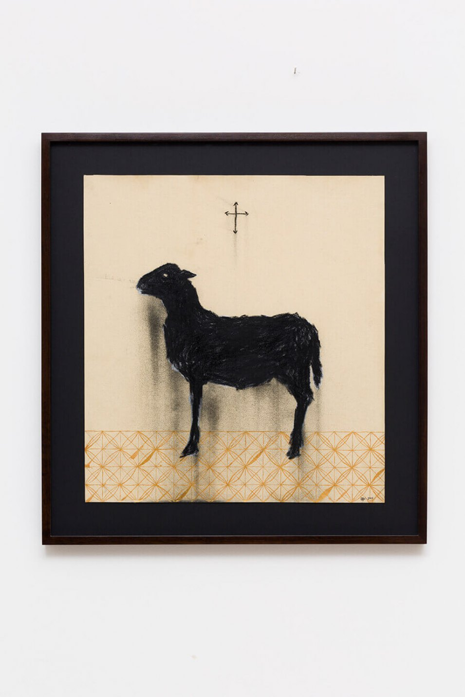 Antônio Obá, <em>Agnus Dei, </em>2017,&nbsp;charcoal and nankin on canvas, 60 × 55 cm - Mendes Wood DM