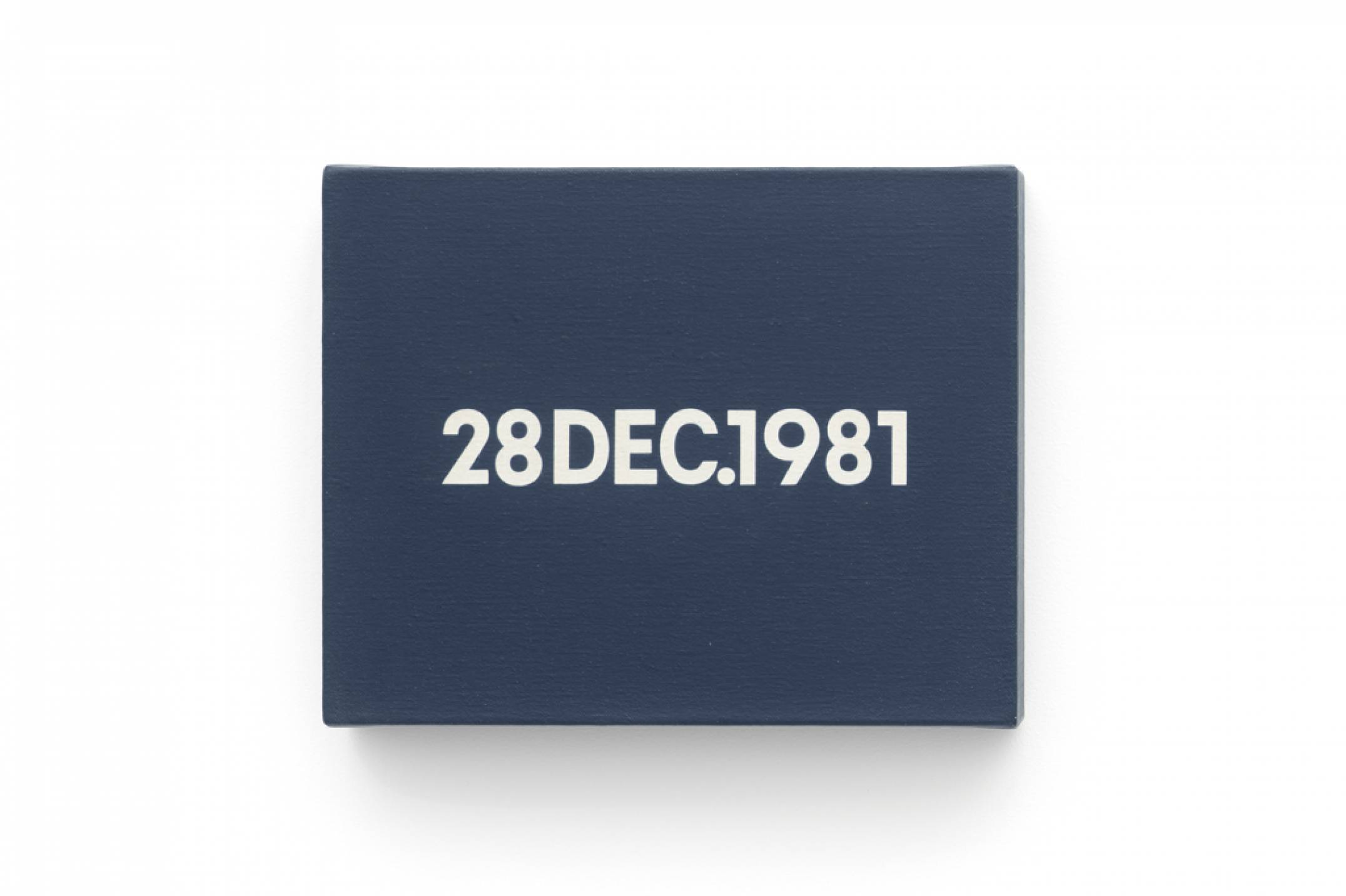 On Kawara, <em>28 DEC.</em>, 1981, liquitex on canvas, 20,6 × 25,4 cm - Mendes Wood DM