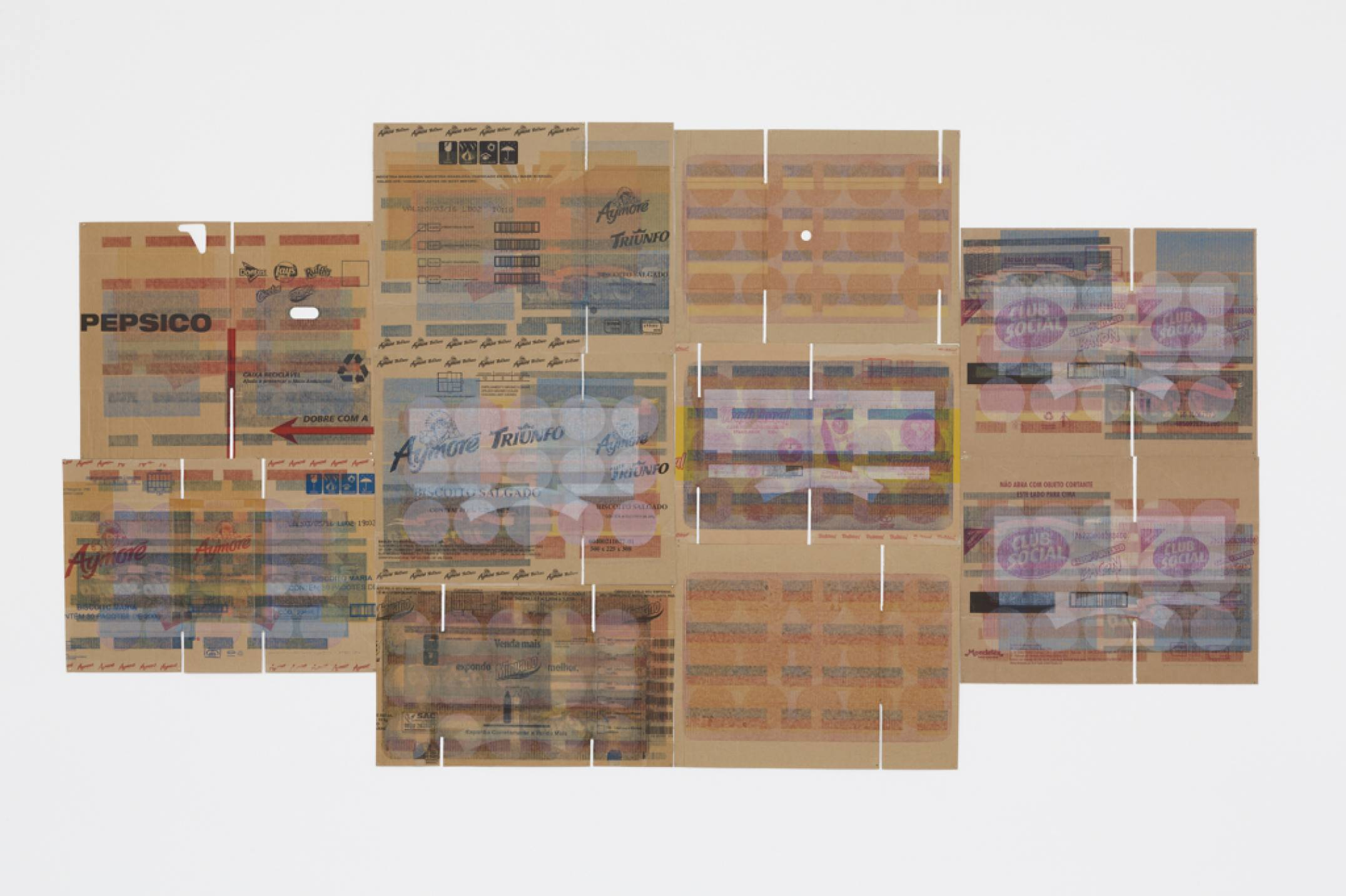 Lotus Lobo,<em> Estamparia Litográfica,</em> 2016,lithography on cardboard boxes, 74 × 59 cm (each) - Mendes Wood DM