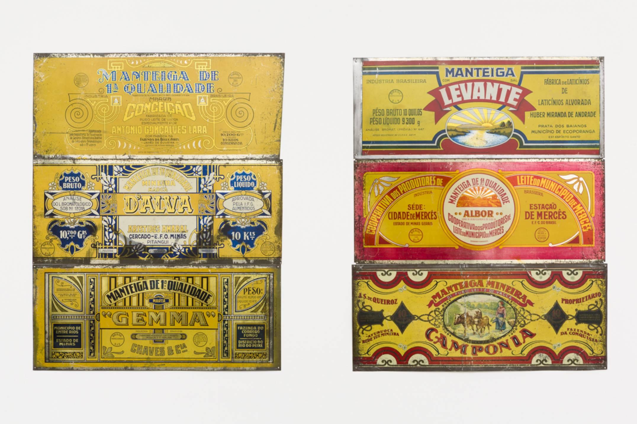 Lotus Lobo,&nbsp;<em>Estamparia Litográfica, sobre folha de flandres</em>, 1970-2016,&nbsp;print on tinplate, 102 × 70 cm (each) - Mendes Wood DM