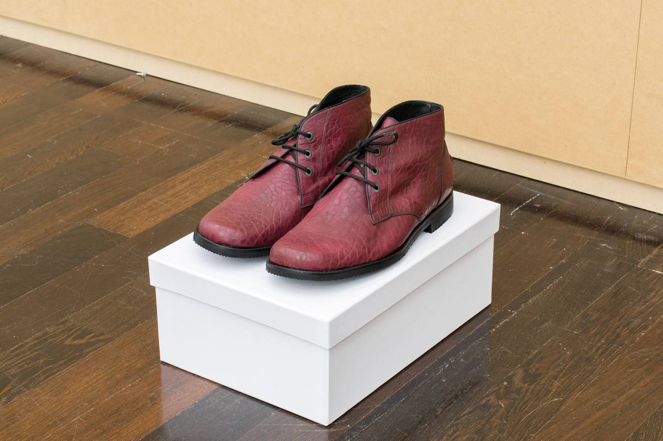 Christodoulos Panayiotou, <em>untitled</em>, 2015, 1 pair of handmade leather shoes and 1 cardboard shoe box, variable dimensions - Mendes Wood DM