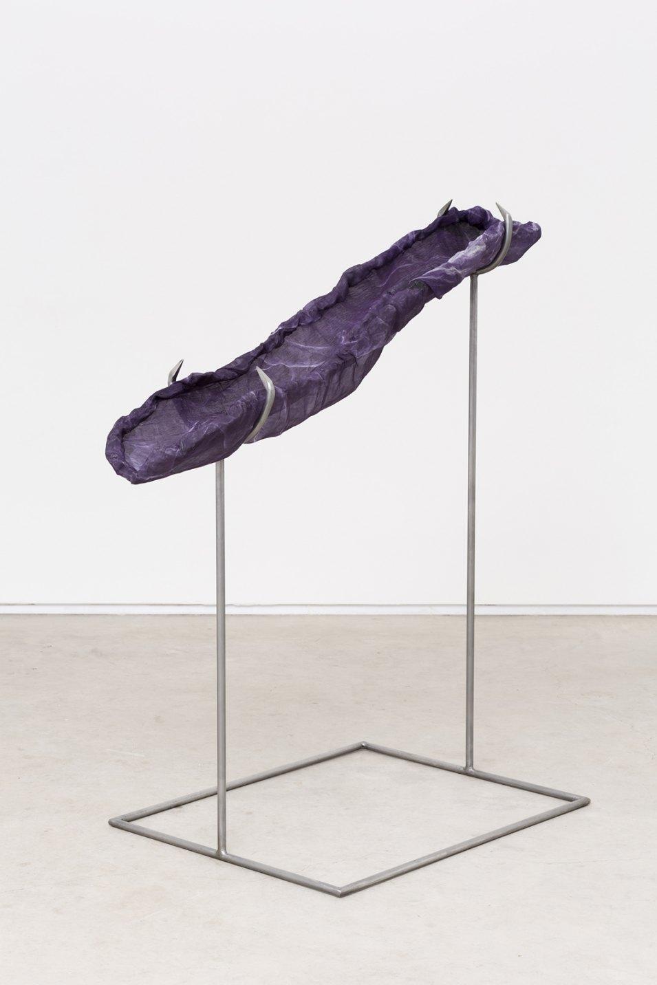 Felipe Meres, <em>Weave Weavers Weave</em>, 2017, electron micrograph, pigment print on silk, woven aluminum, polished steel, 119 × 61 × 114 cm - Mendes Wood DM