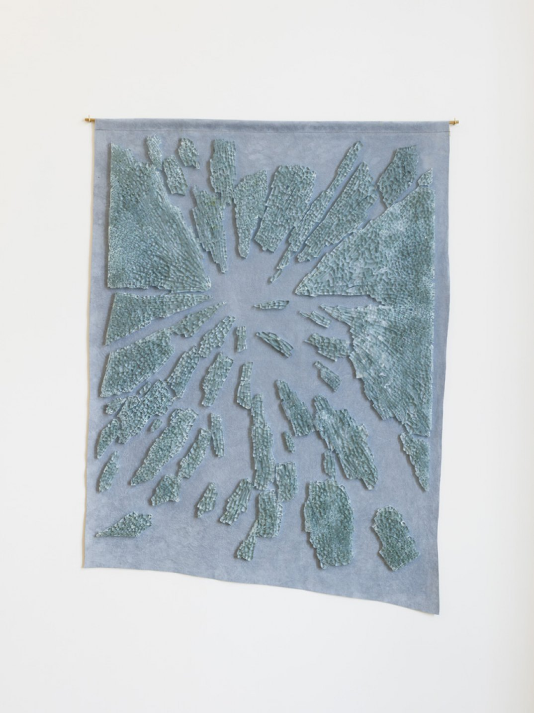 Giulio Delvè<em>,Acquapazza,</em> 2017,tempered glass panel on fabric, 60 × 45 cm<br> - Mendes Wood DM