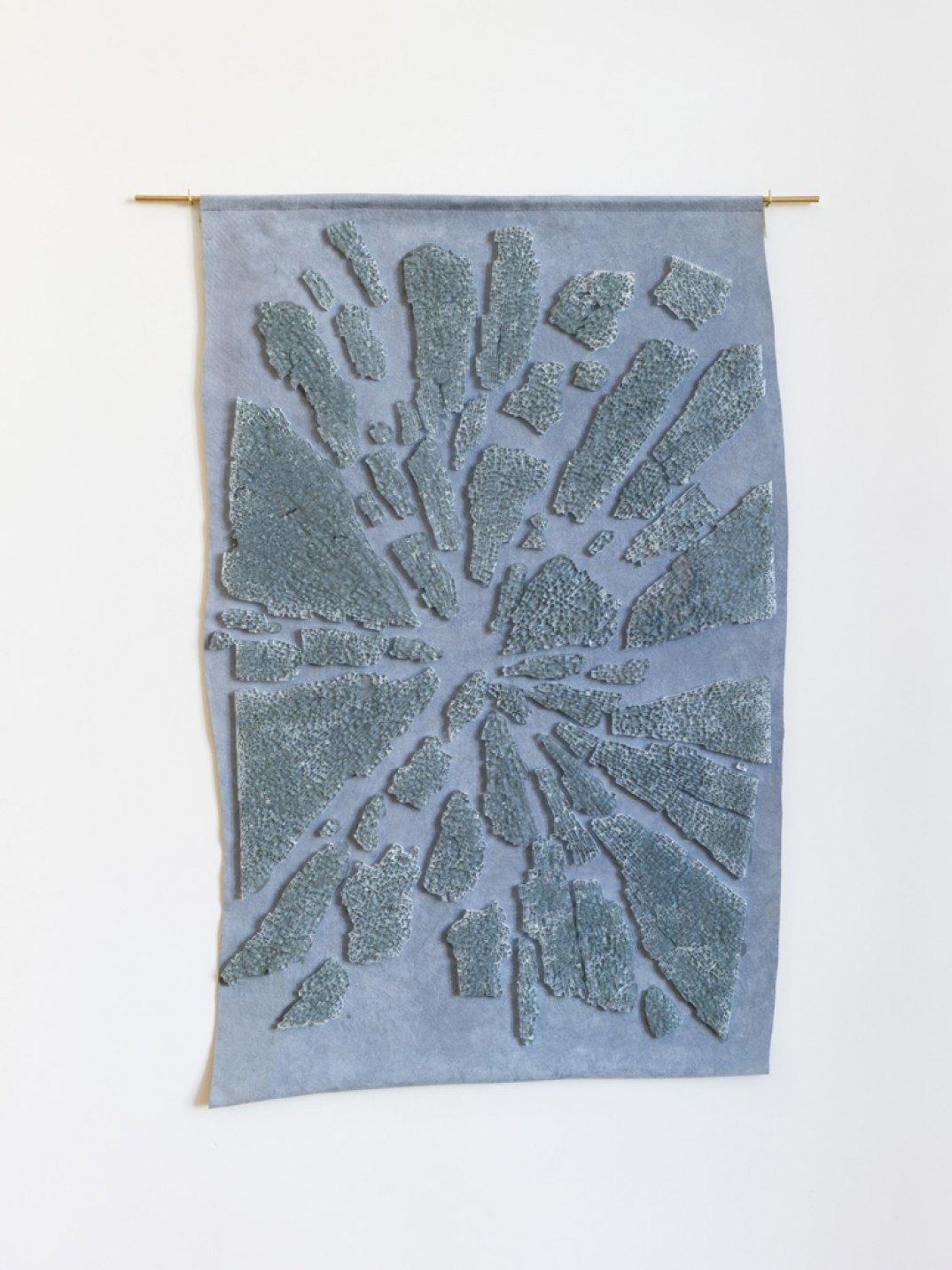 Giulio Delvè,<em>Acquapazza</em>,2017,tempered glass panel on fabric, 90 × 70 cm - Mendes Wood DM