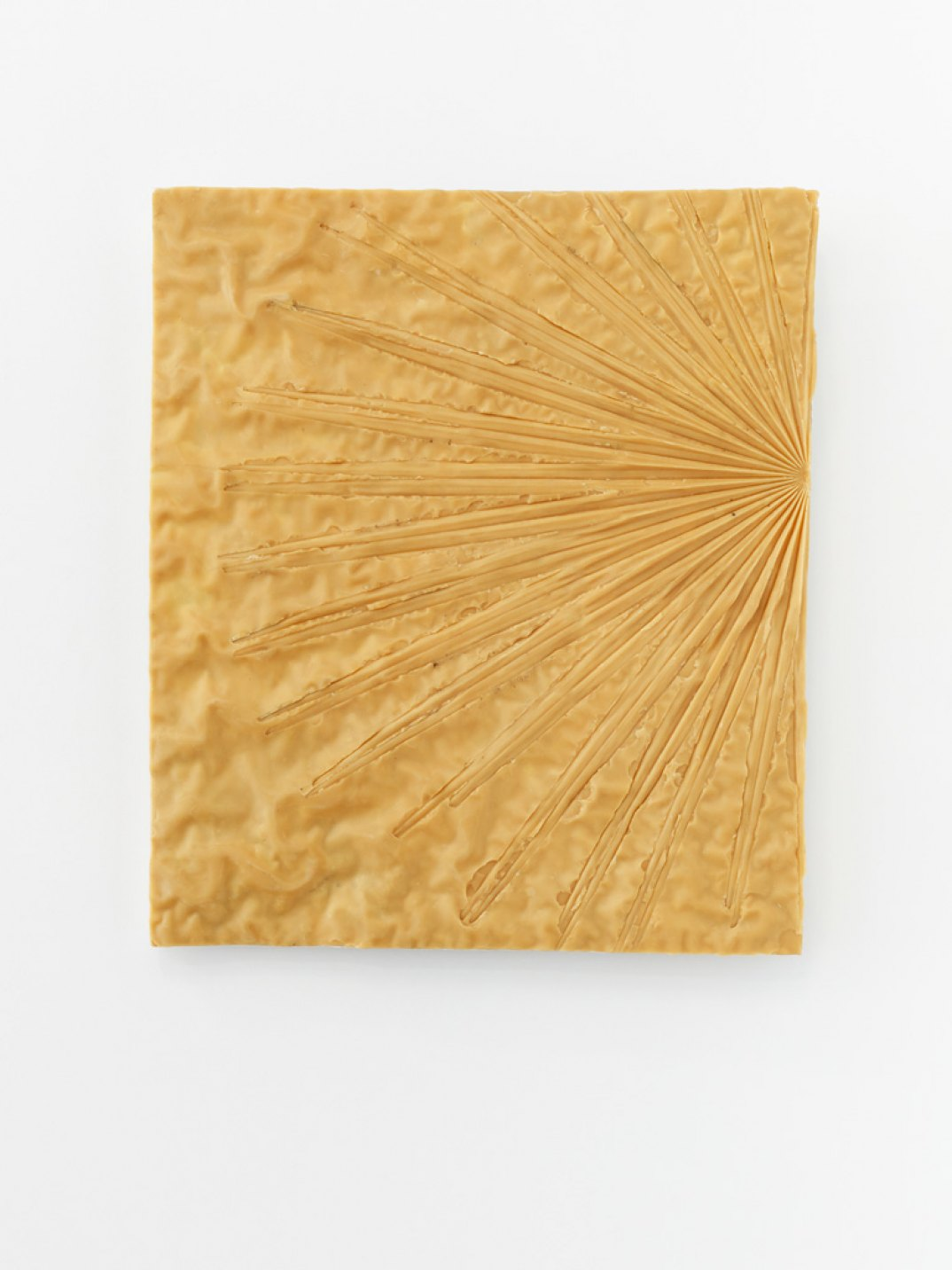 Giulio Delvè, <em>See the sun from behind bars</em>, 2017, carnauba wax, beeswax, plaster,&nbsp;58 × 50 × 5 cm - Mendes Wood DM