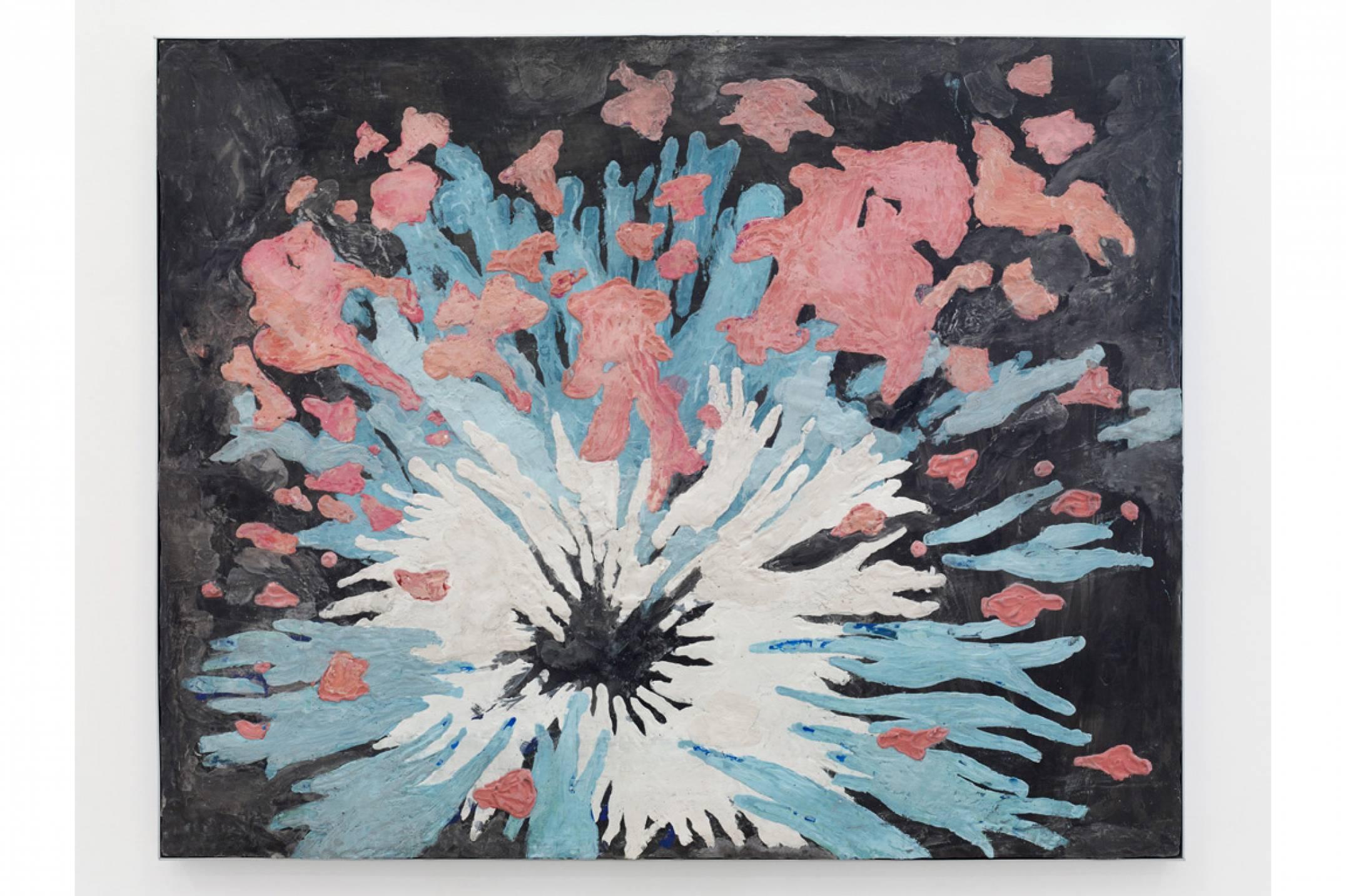 Giulio Delvè,<em>La parata dei rosa elefanti,</em> 2012, plaster on mdf, 55 × 65 × 3 cm - Mendes Wood DM