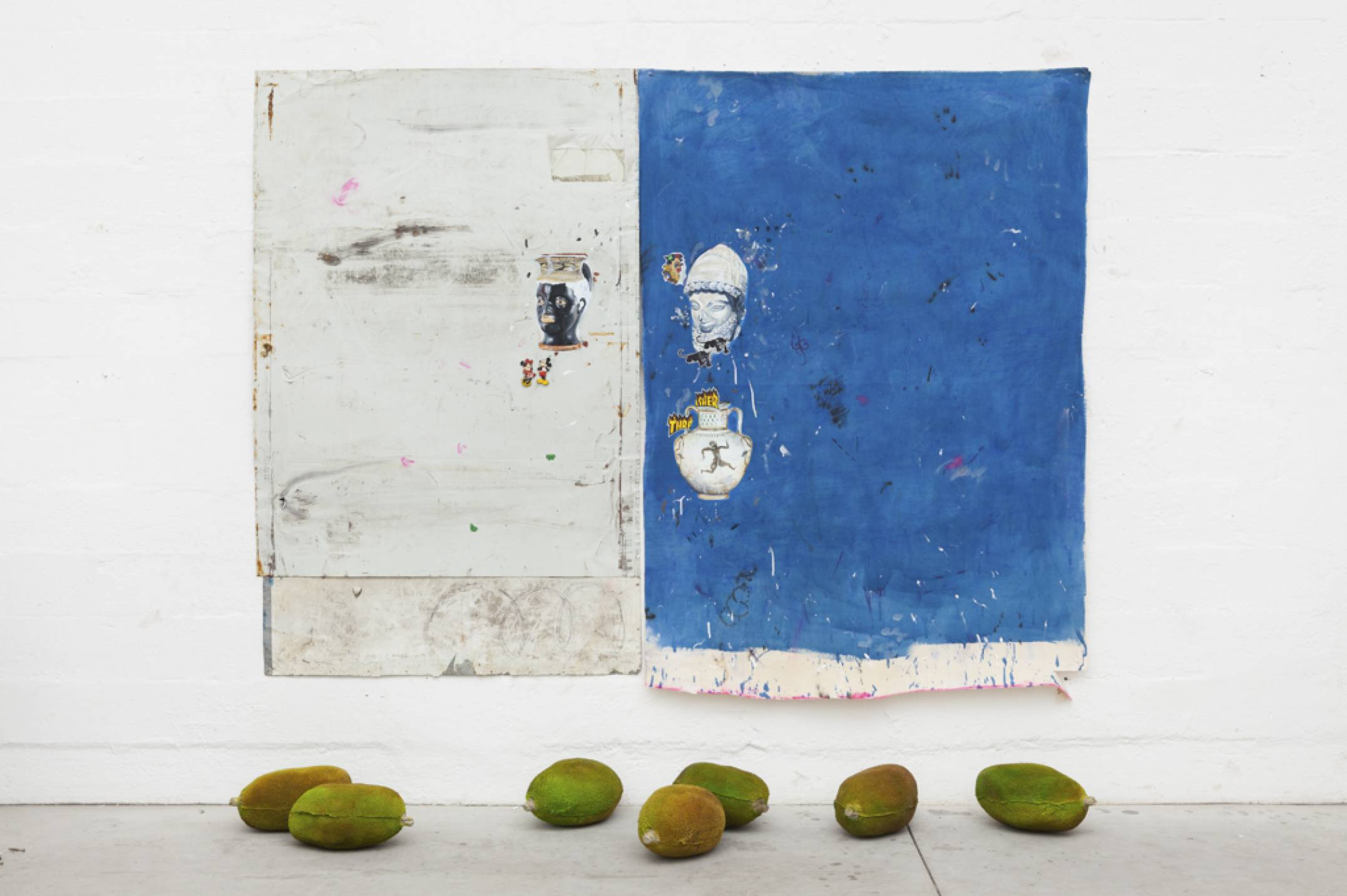 Paulo Nimer Pjota, <em>Blue Indigo</em>, 2017,acrylic, pencil, pigment, magnet, pen on canvas, aluminum sheet and resin, 260 × 200 (painting) cm 37 × 21 cm (objects) - Mendes Wood DM