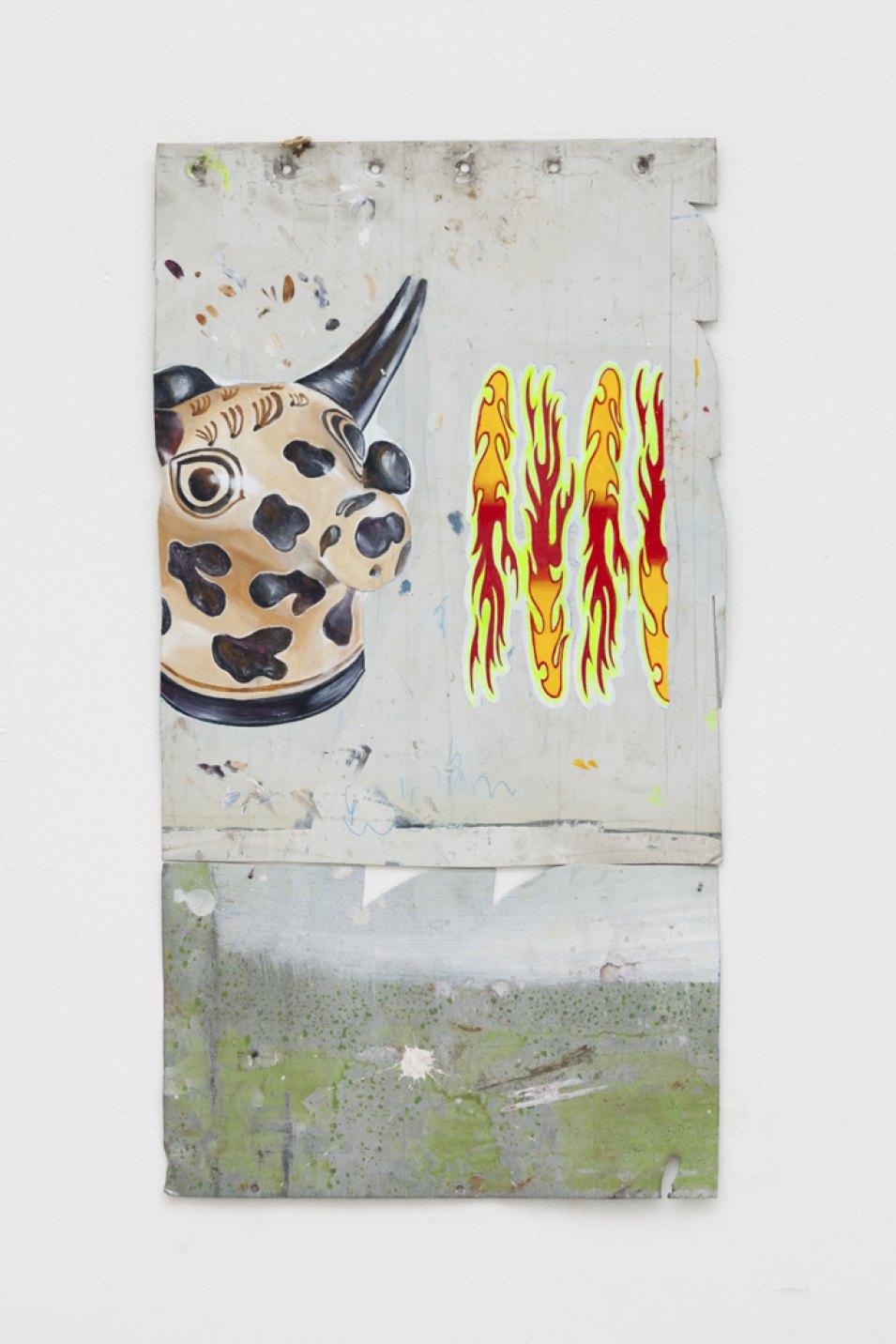 Paulo Nimer Pjota, <em>War</em>, 2017, acrylic on iron, 60 × 30 cm - Mendes Wood DM