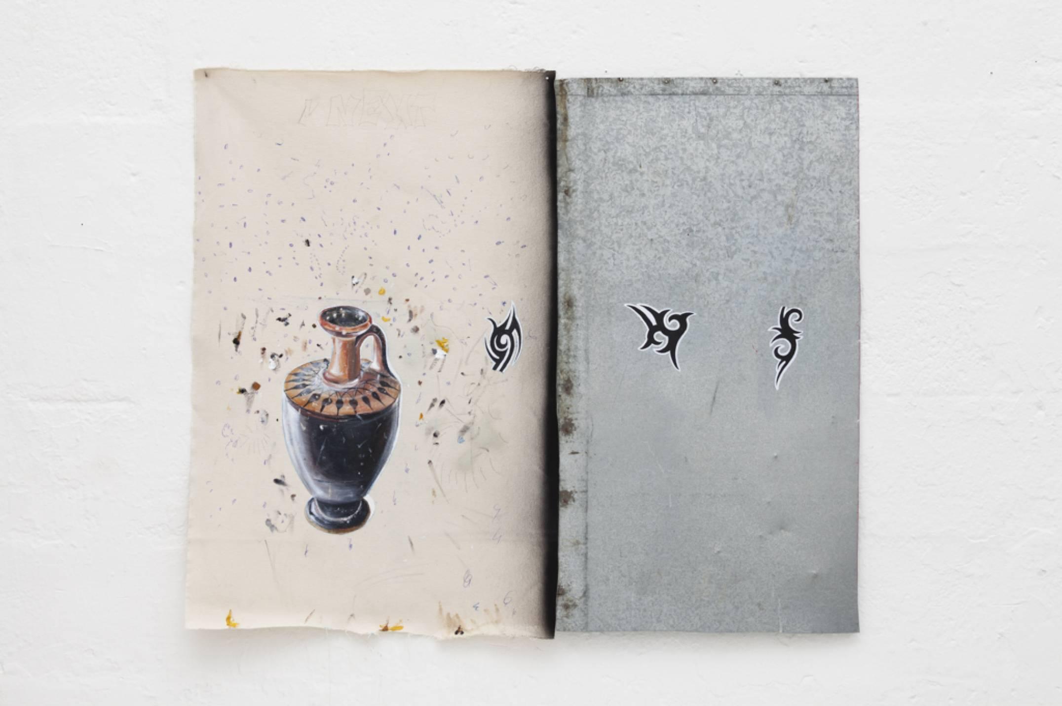 Paulo Nimer Pjota, <em>Tribal Pottery</em>, 2017, acrylic and pen on aluminum, 97 × 80 cm - Mendes Wood DM