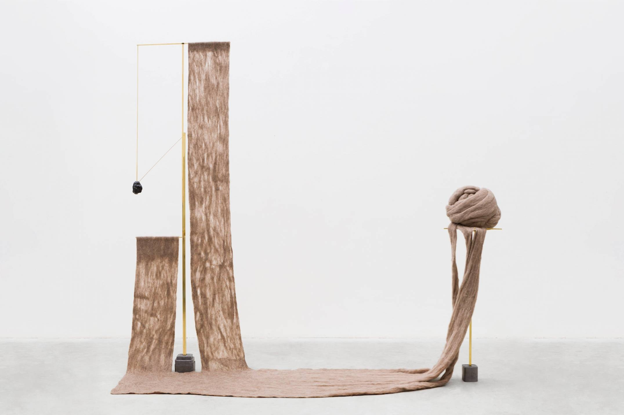 Paloma Bosquê, <em>Two Stones</em>, 2017, lead sheet, brass rods, handfelted wool and beeswax, 202 × 212 × 34 cm - Mendes Wood DM