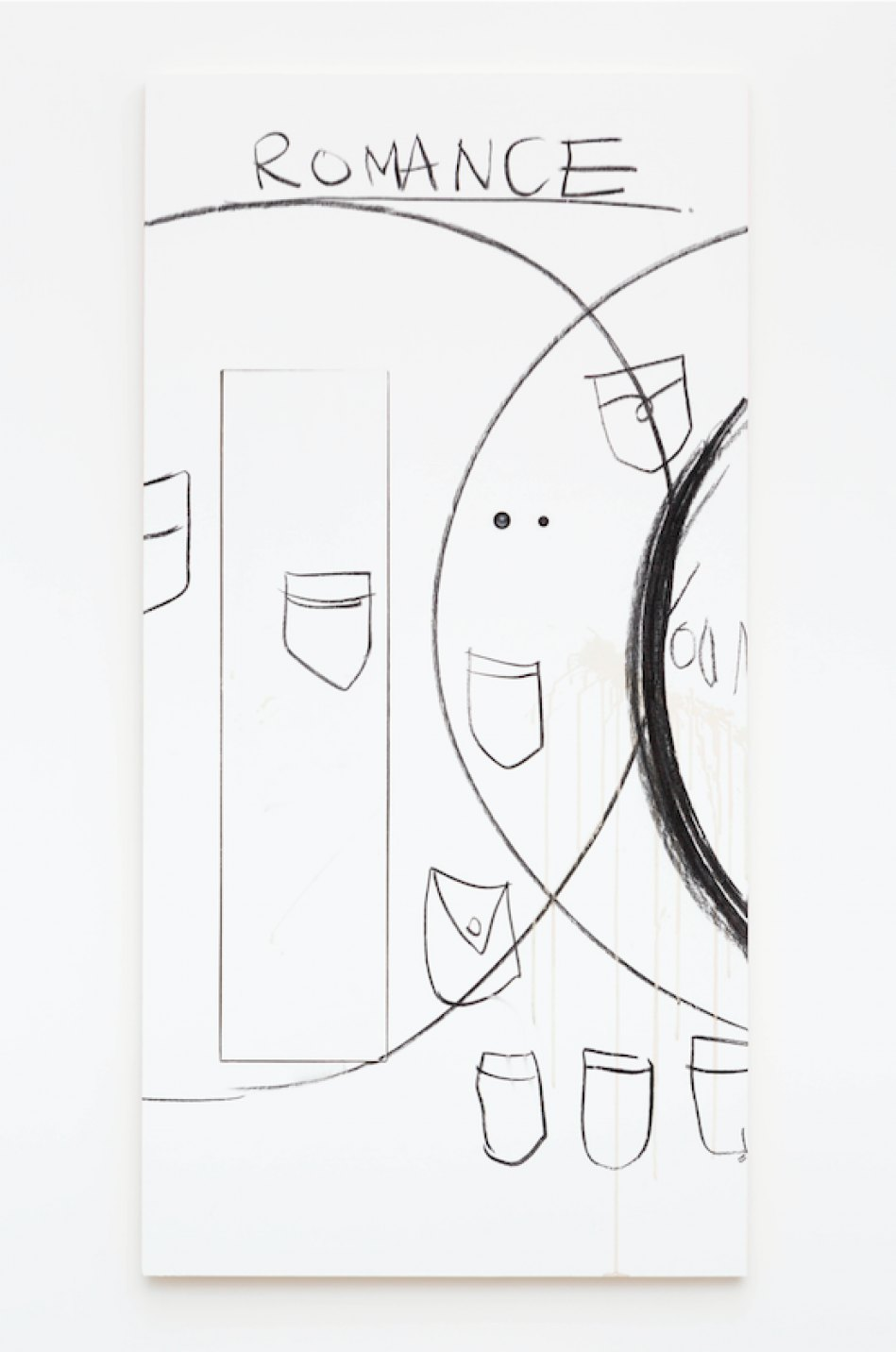 Aki Sasamoto, <em>Wrong Happy Hour - Wall/Door 8.12.2017</em>, 2017, wood, door viewers, piano hinge, paint, coffee stain, charcoal, 183 × 91,5 × 3,8 cm - Mendes Wood DM