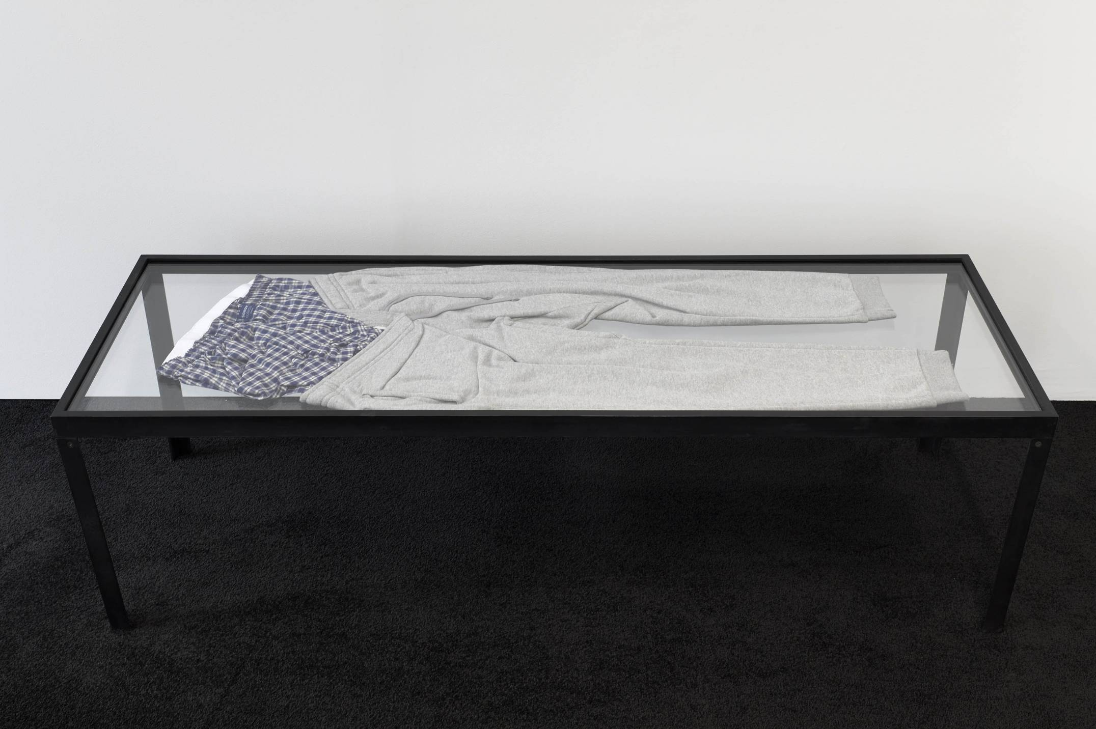 Prem Sahib,&nbsp;<em>Possession I,&nbsp;</em>2017,&nbsp;steel, glass, tracksuit bottoms, boxer shorts, 45 × 150 × 50 cm - Mendes Wood DM
