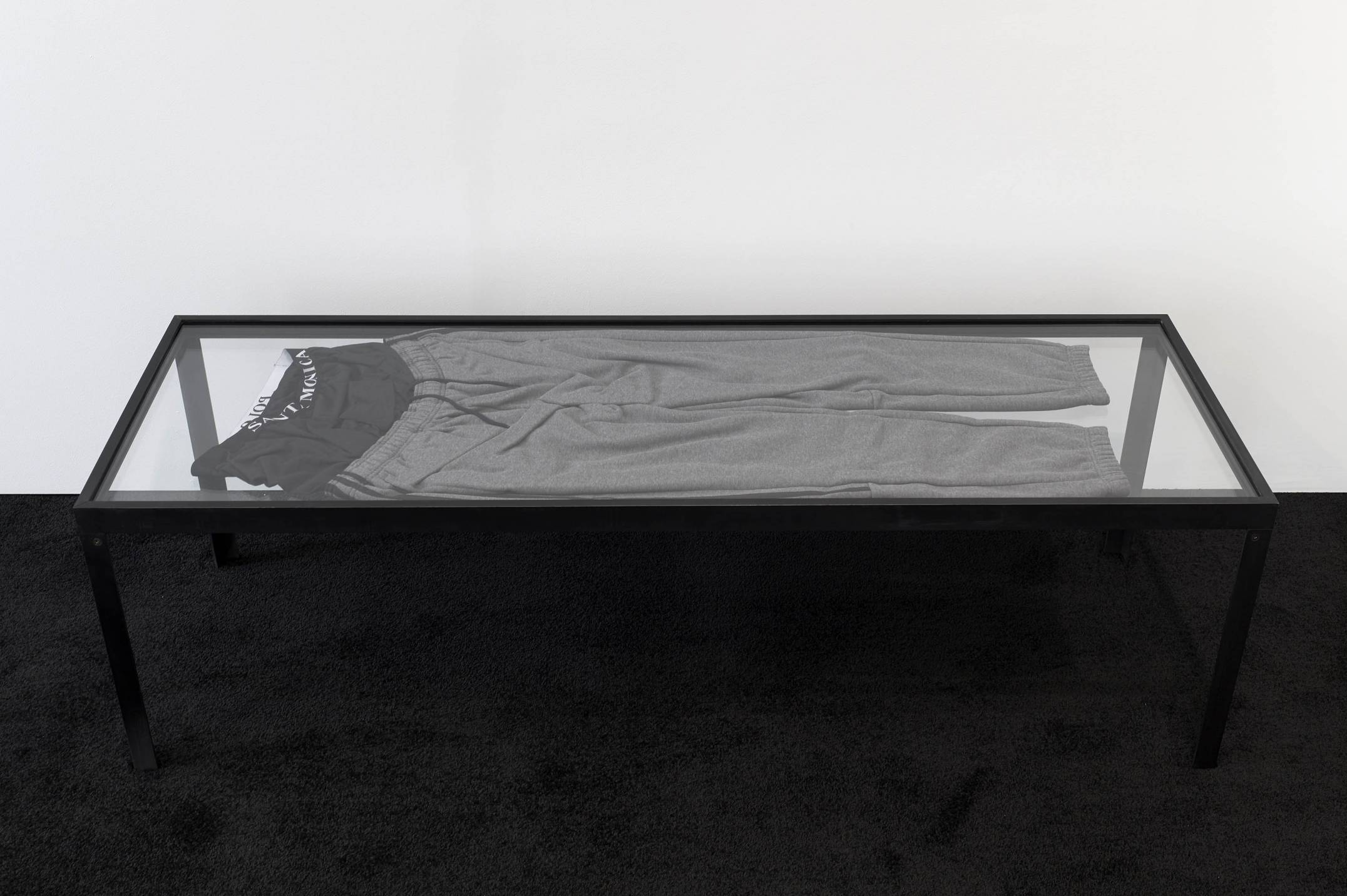 Prem Sahib,&nbsp;<em>Possession II</em>,&nbsp;2017,&nbsp;steel, glass, tracksuit bottoms, boxer shorts, 45 × 150 × 50 cm - Mendes Wood DM