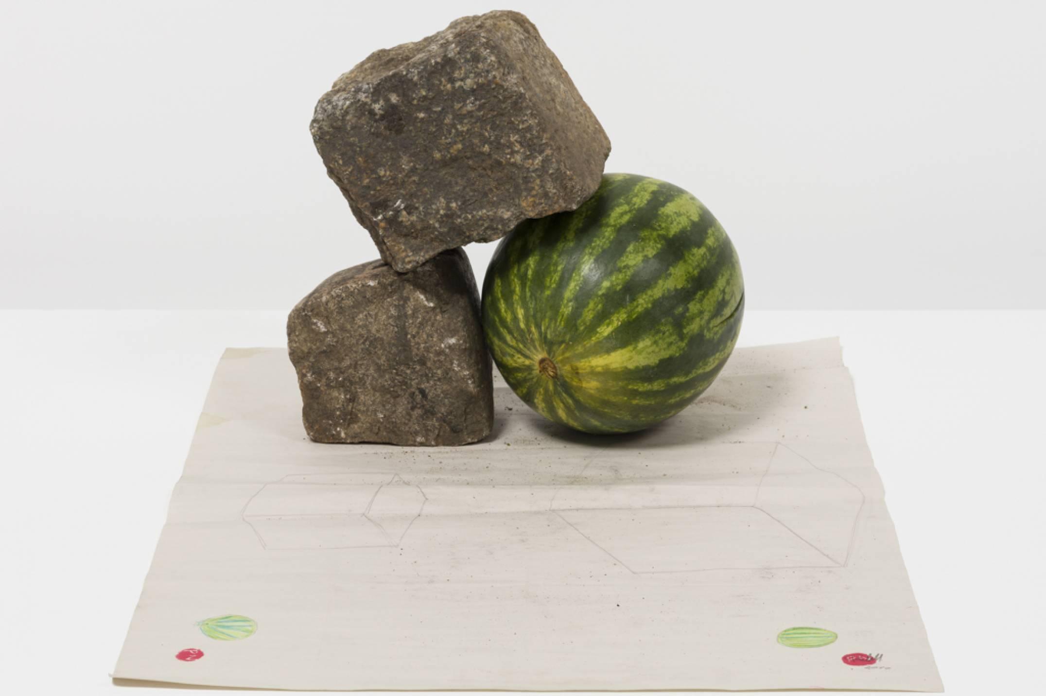 Paulo Nazareth,&nbsp;<em>CHINATOWN</em>, 2017, pencil on paper, stone, plastic bags, 12,7 × 94 × 70 cm - Mendes Wood DM