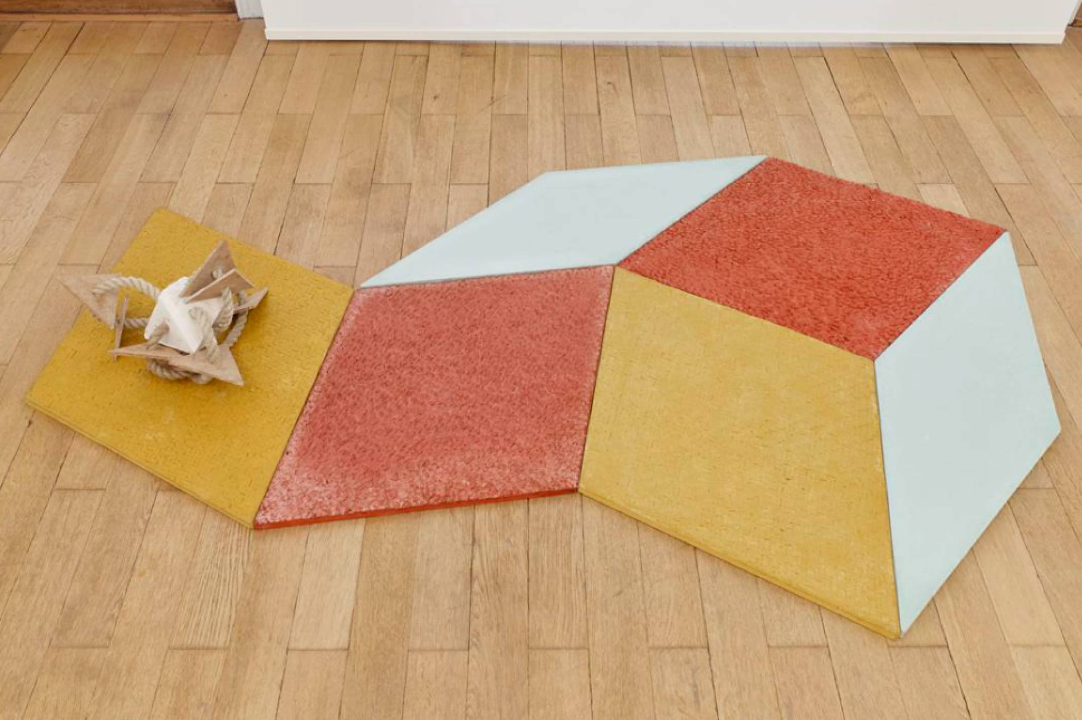 Mariana Castillo Deball, <em>Petate, Xipe, Turquesa, Xipe, Petate</em>, 2017, colored concrete tiles with relief, 158 × 114 cm - Mendes Wood DM
