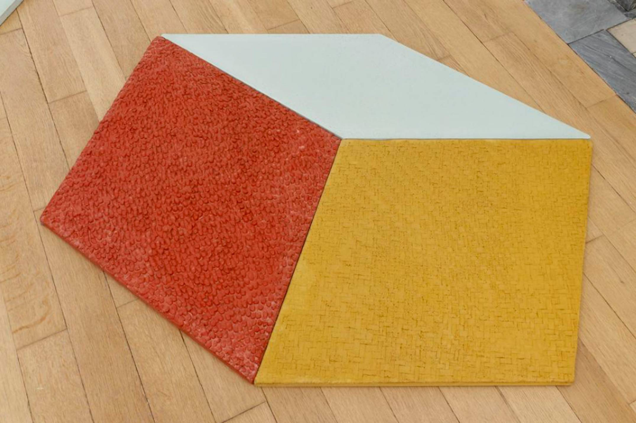 Mariana Castillo Deball, <em>Petate, Xipe, Turquesa</em>, 2017, colored concrete tiles with relief, 97 × 114 cm - Mendes Wood DM