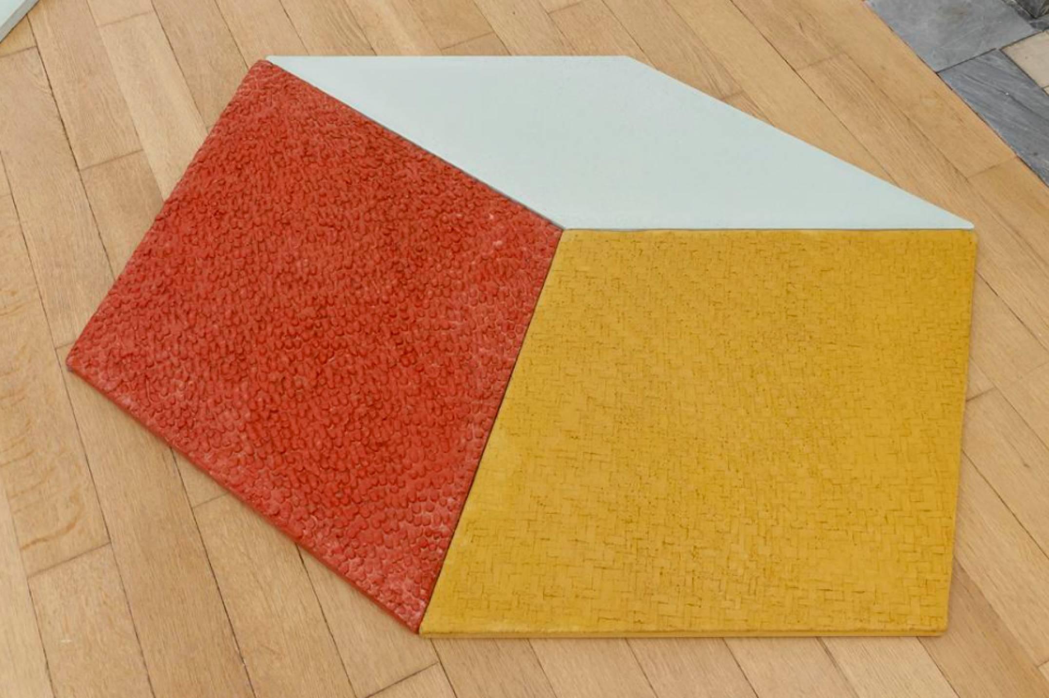 Mariana Castillo Deball, <em>Petate, Xipe, Turquesa</em>, 2017, colored concrete tiles with relief, 97 × 114 cm - Mendes Wood DM