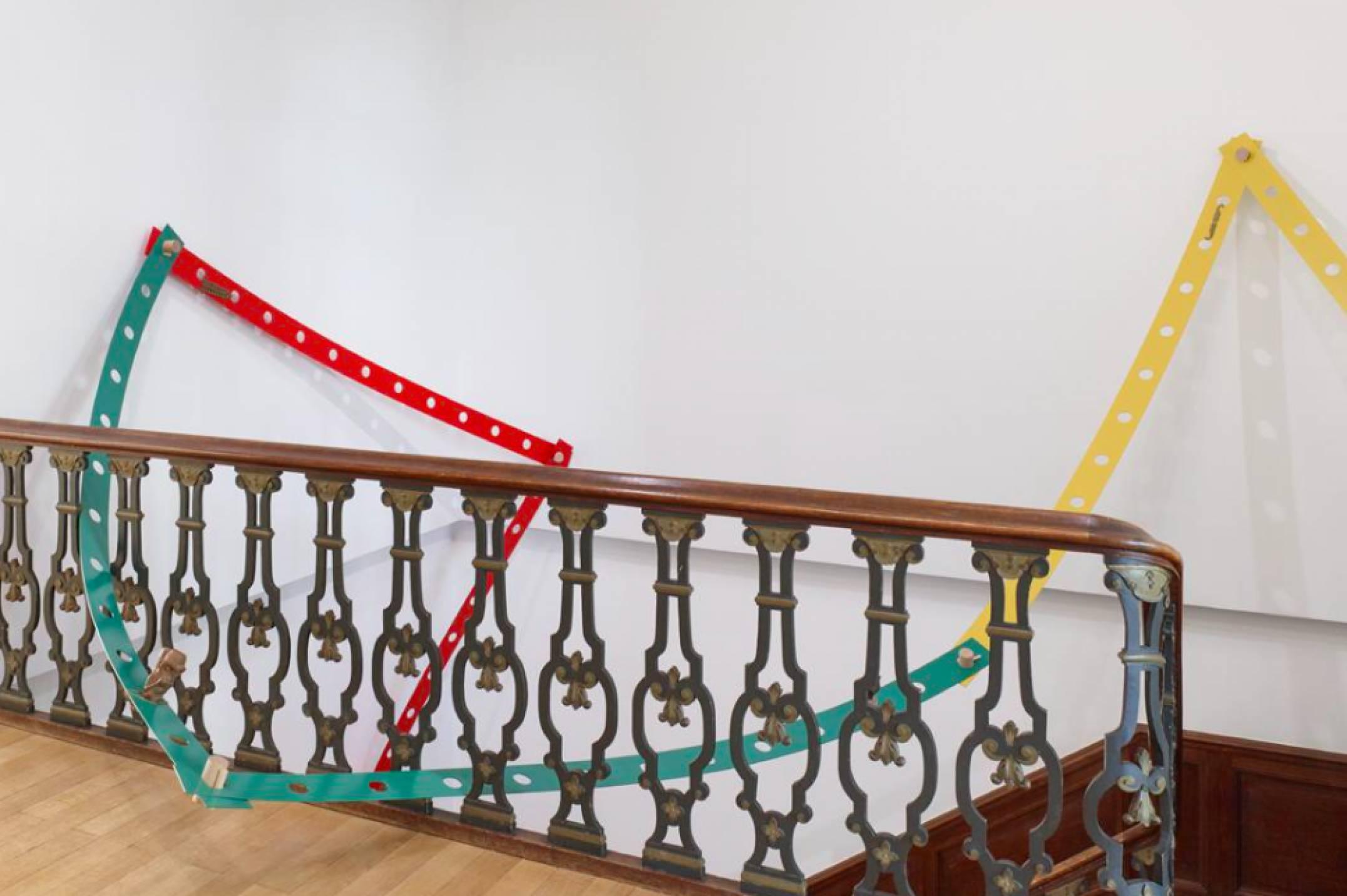 Mariana Castillo Deball,<em>Tonalpohualli Green</em>, 2017, aluminum, wood, bronze, variable dimensions, 270 × 12 × 0,3 cm(each strip) - Mendes Wood DM