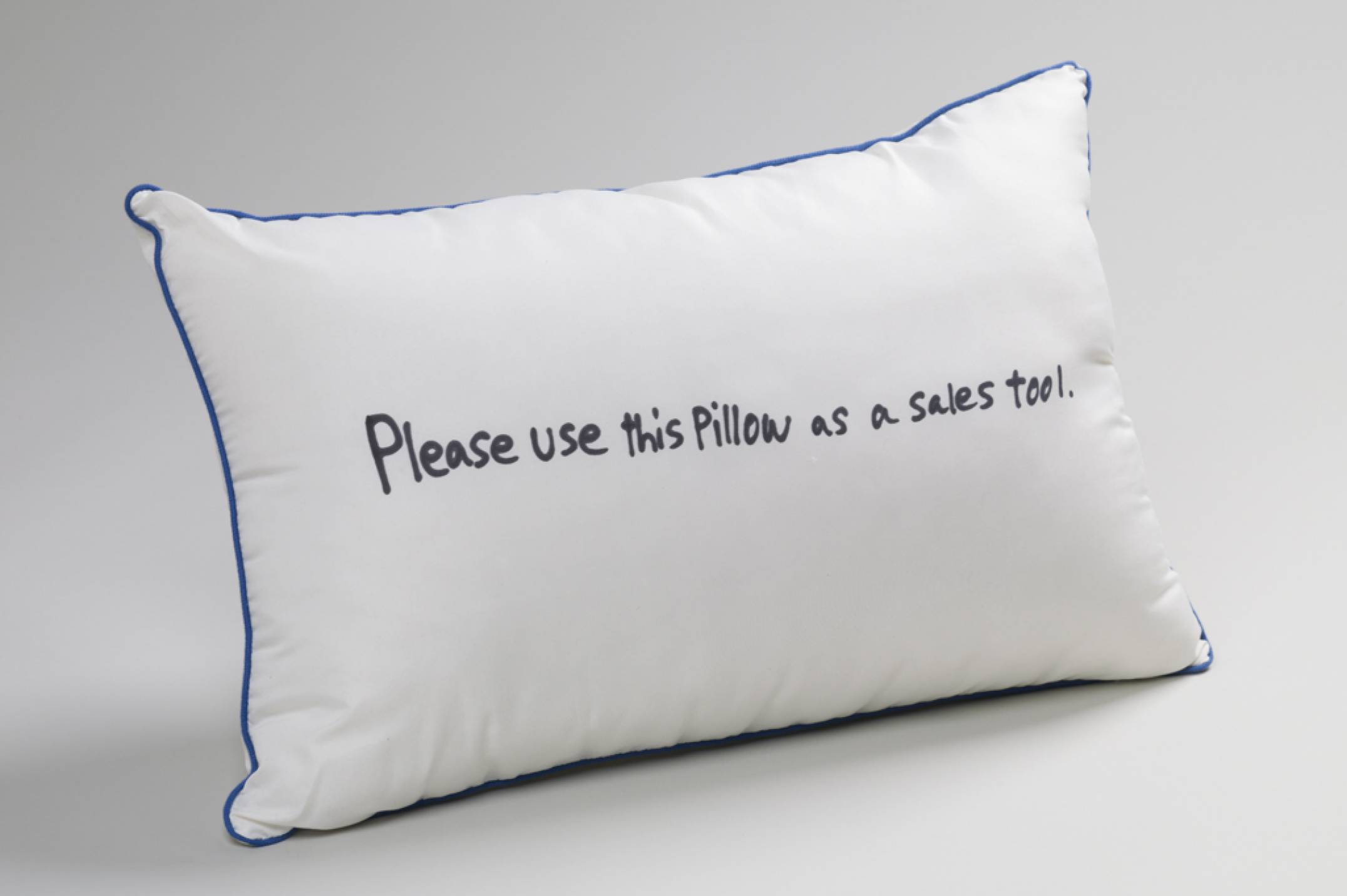 Ken Kagami, <em>Please use this pillow as a sales tool</em>, 2017, marker on pillow, 40 × 61 × 20 cm - Mendes Wood DM